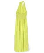 Sunny Lime - Solid Midi Tie Back Dress