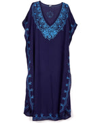 Navy - Embroidered Maxi Caftan