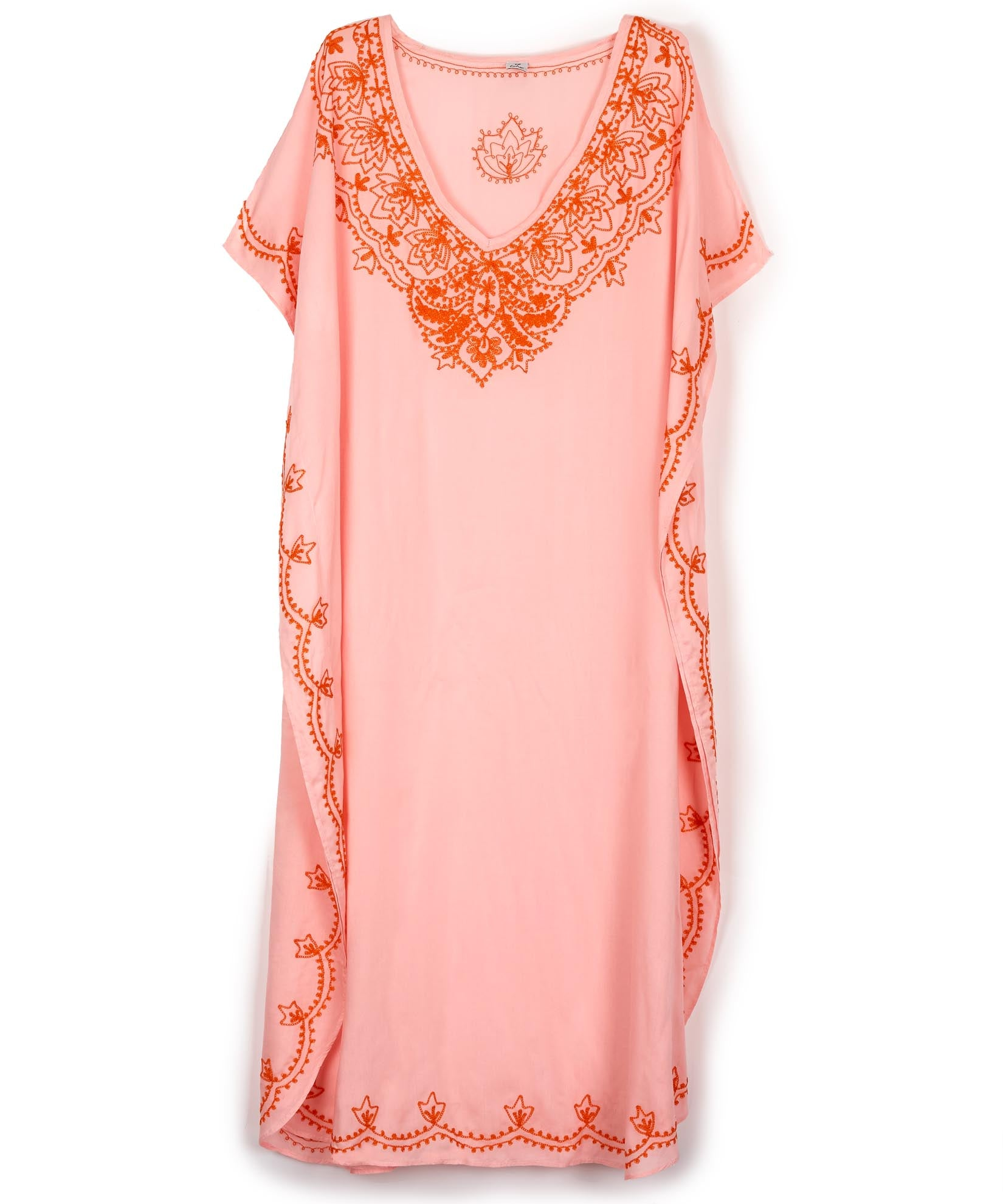Rose Pink - Embroidered Maxi Caftan