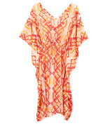 Coral - Cabana Lattice Double V Caftan