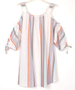 White - Sunset Stripe Cold Shoulder Tunic