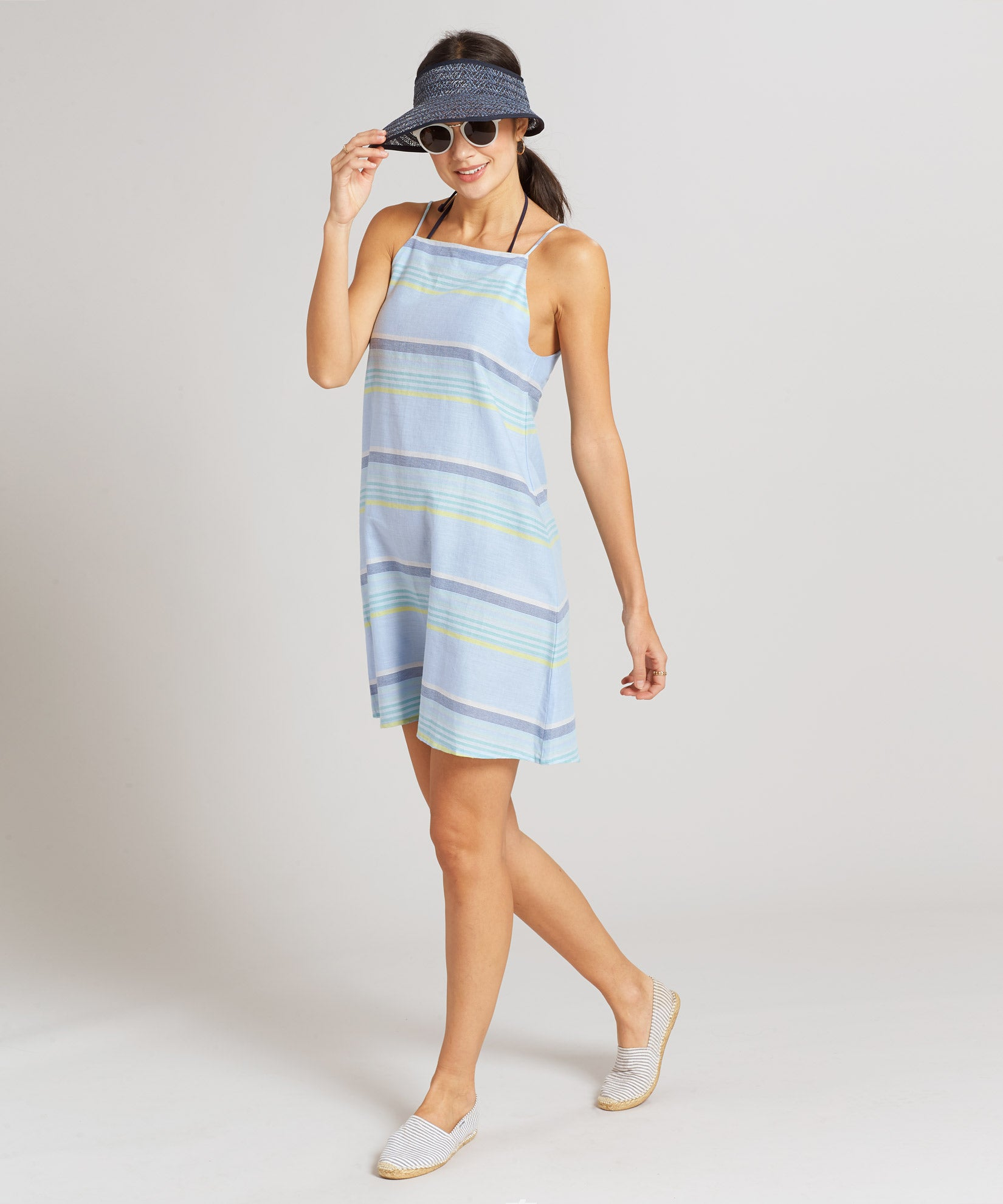 Sky Blue - Sunset Stripe Mini Dress