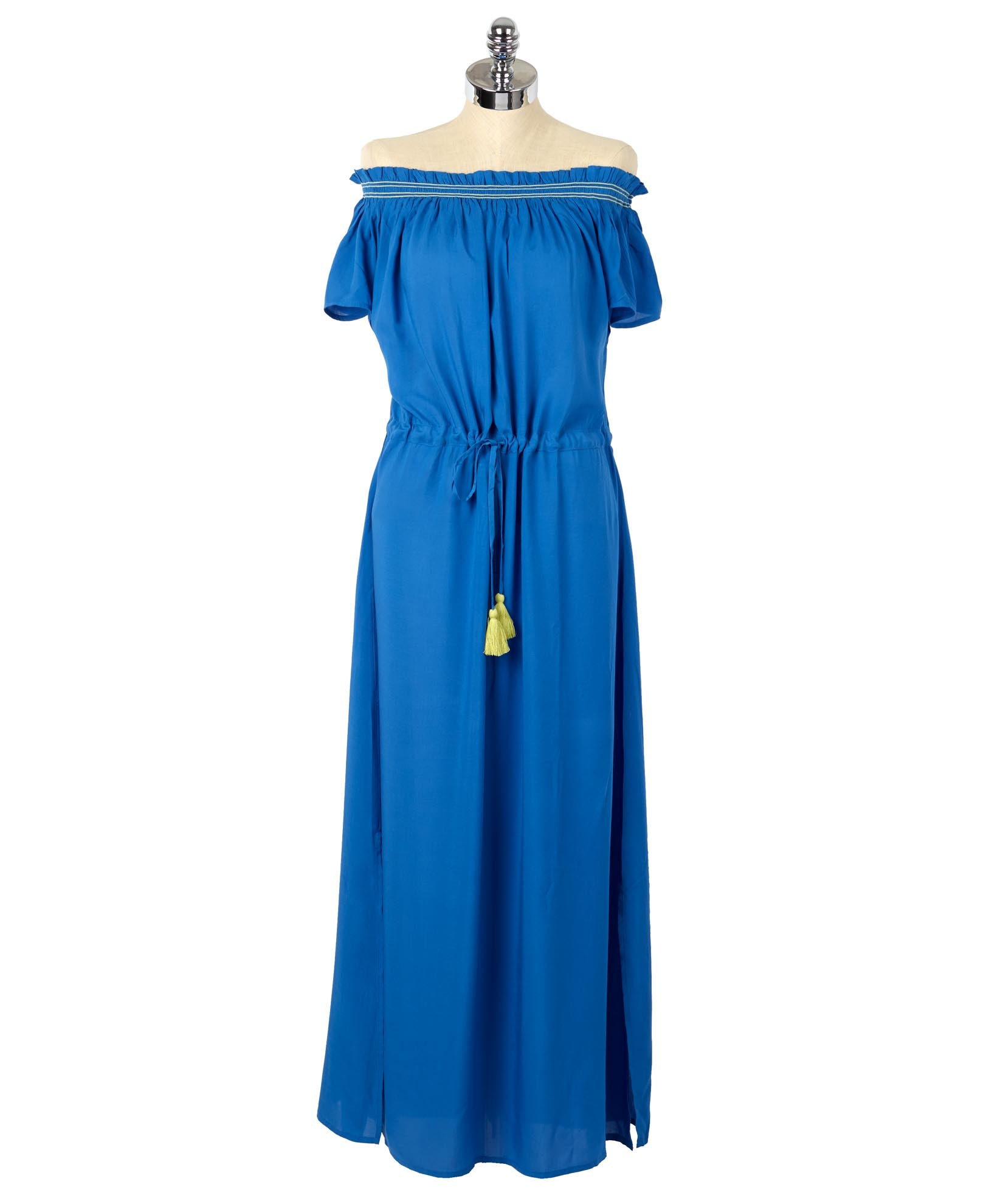 Sea Blue - Solid Off Shoulder Midi Dress