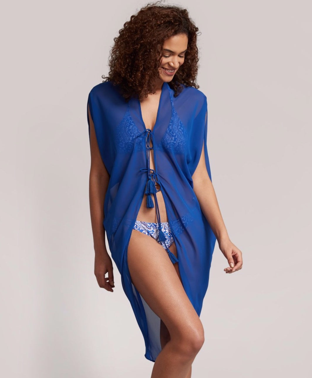 Cobalt - Solid Open Front Breeze Caftan