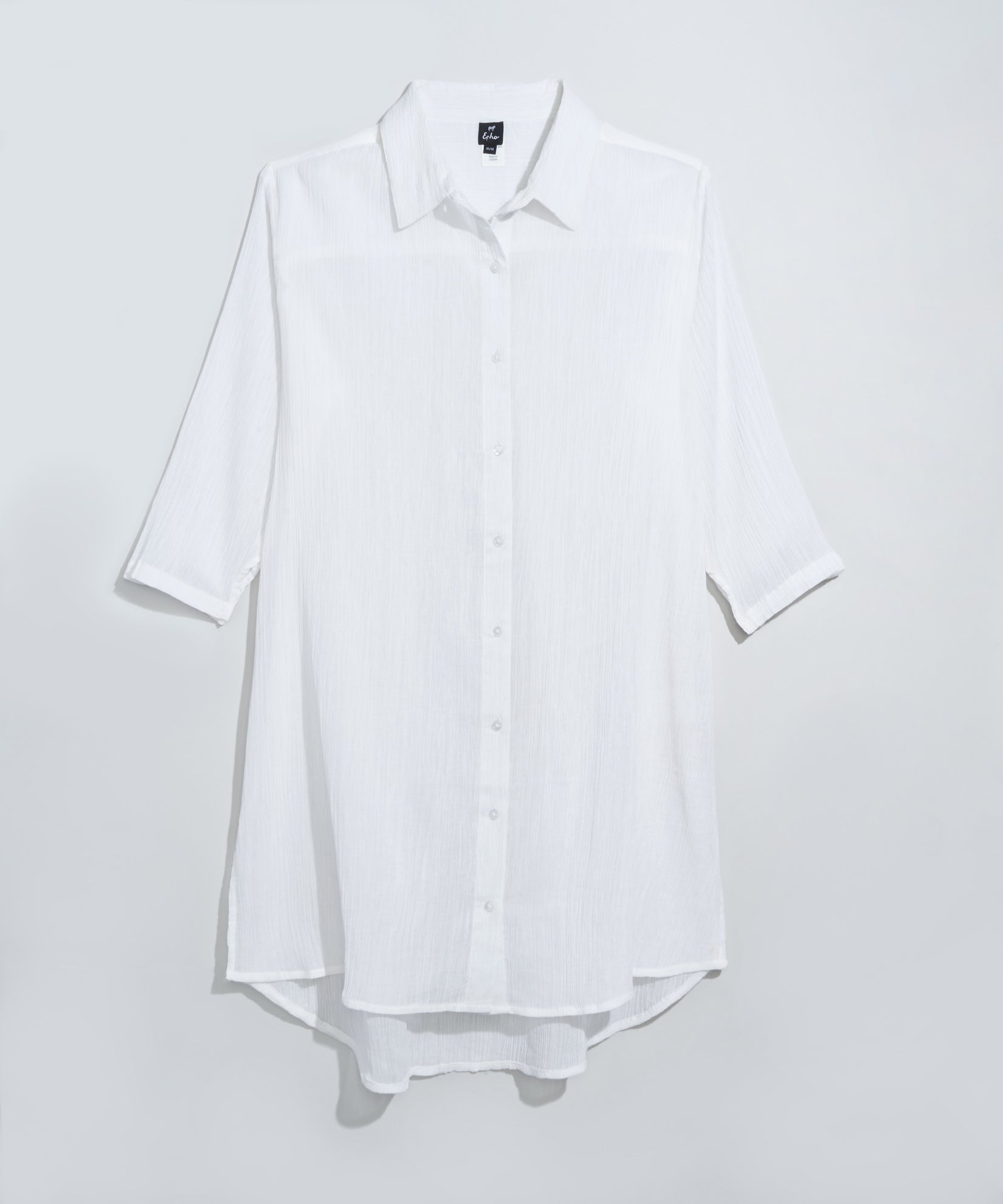 White - Solid Crinkle Shirt Dress