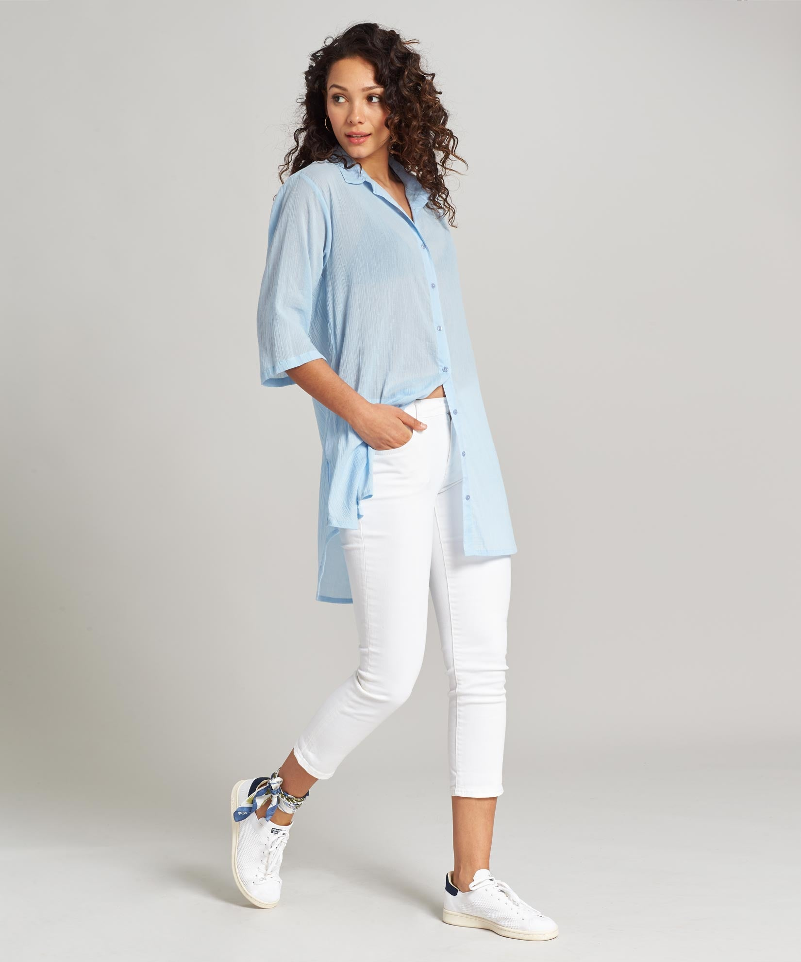 Sky Blue - Solid Crinkle Shirt Dress