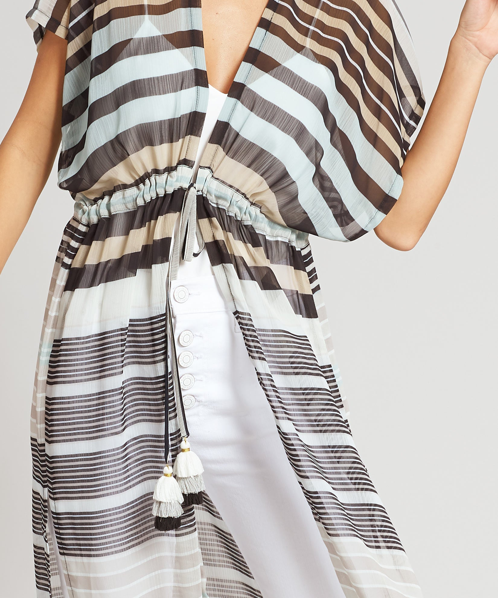 Black - Stripe Midi Caftan