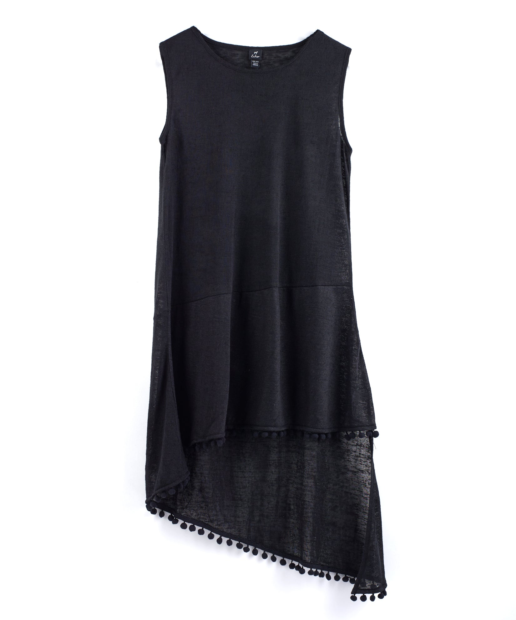 Black - Pom Pom Slub Tank Dress