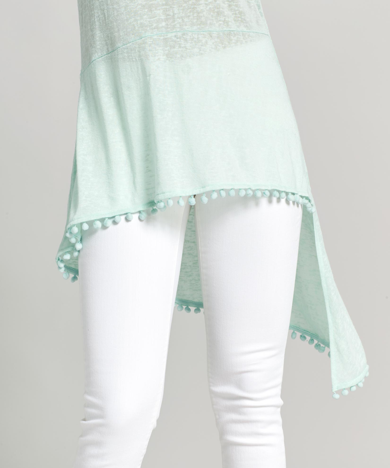 Seafoam - Pom Pom Slub Tank Dress