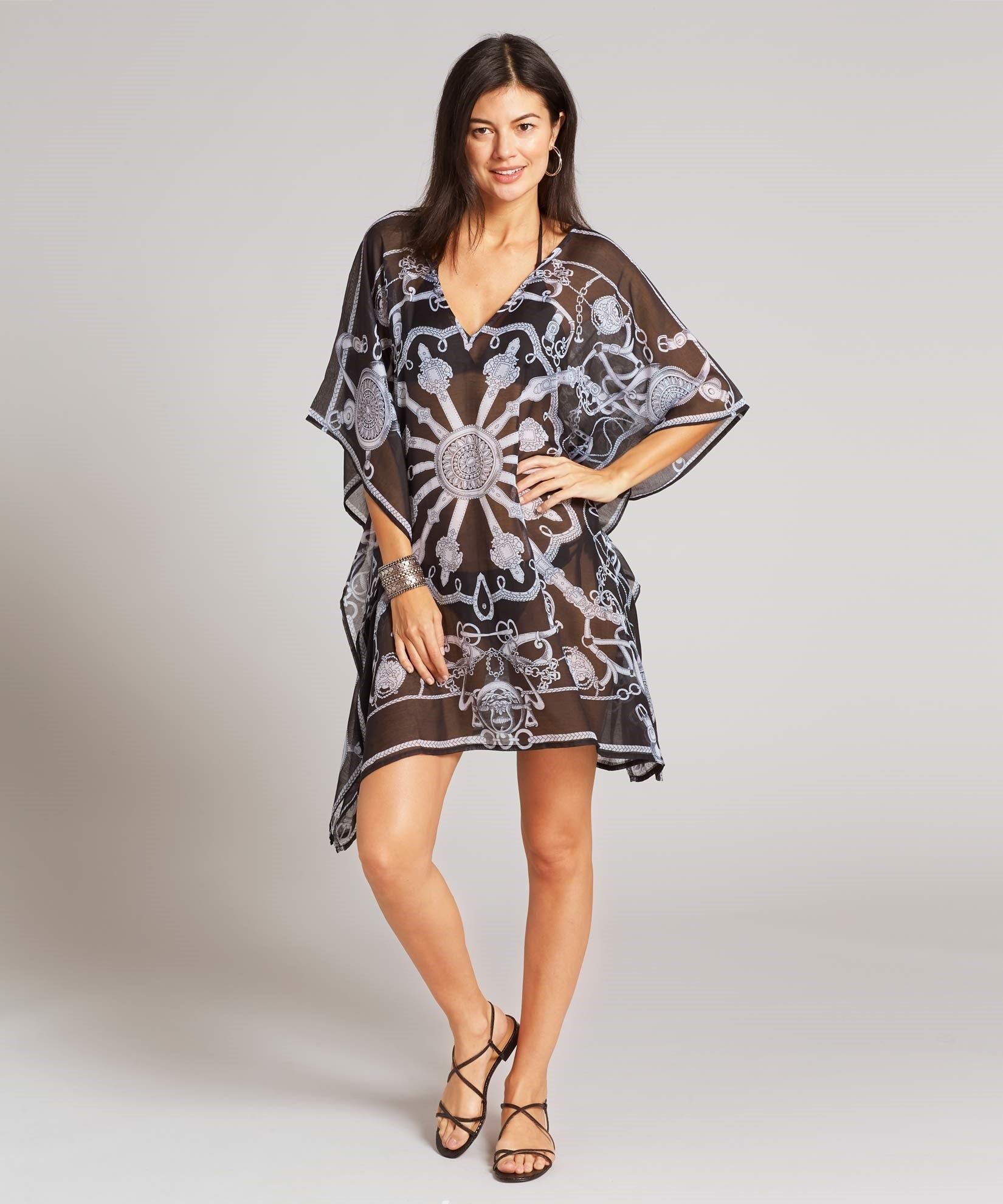 Black - Status Double V Caftan