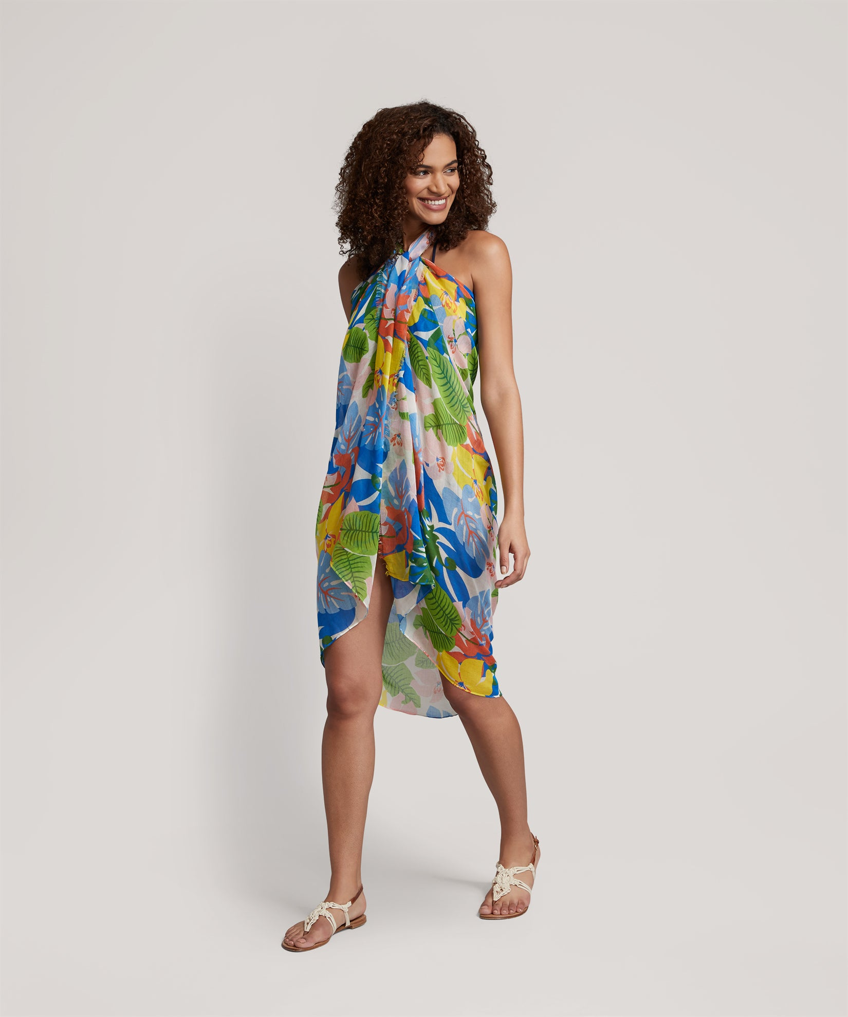 Multi - Cut Out Floral Pareo Wrap