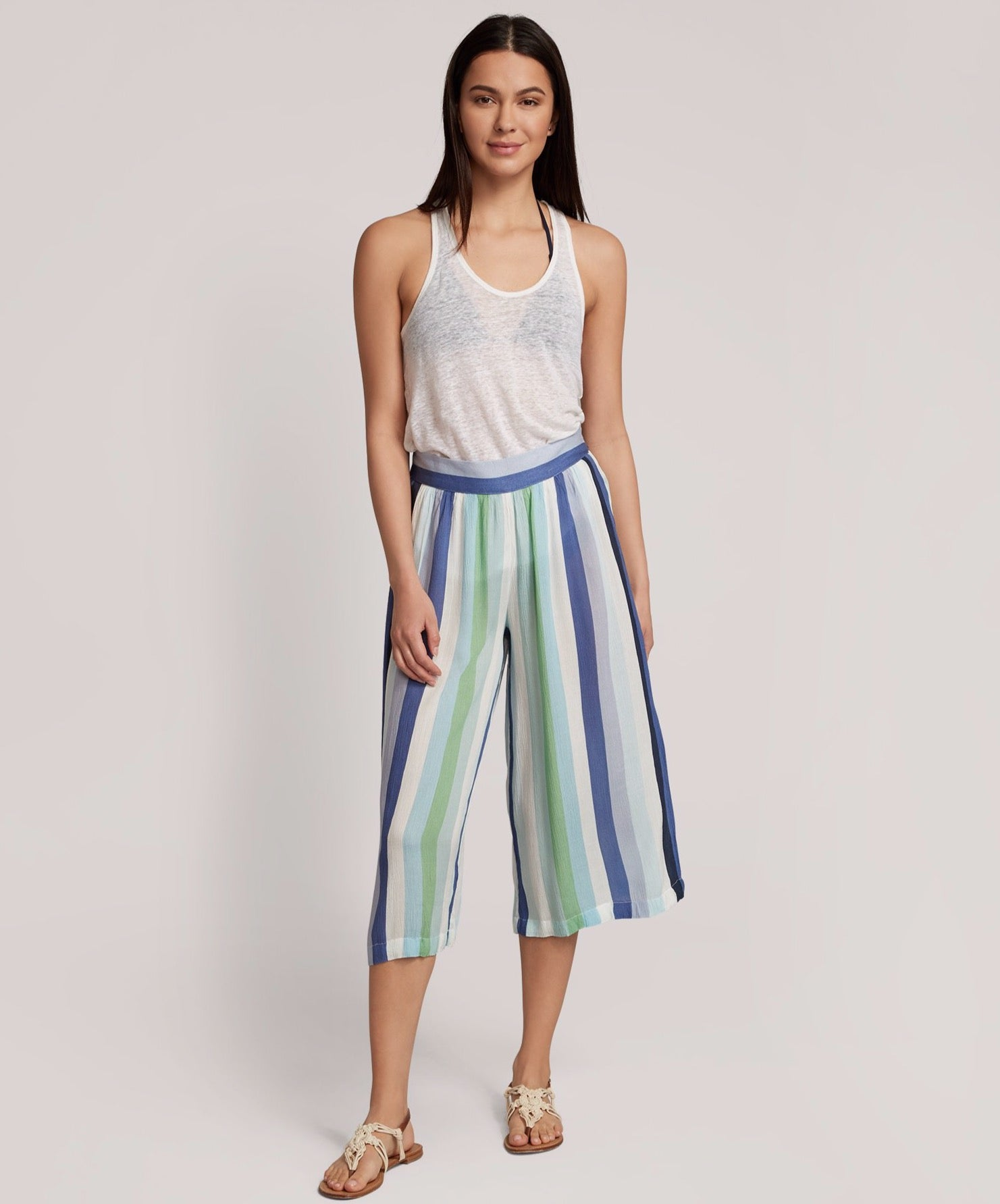 Sea Blue - Resort Stripe Cropped Beach Pants