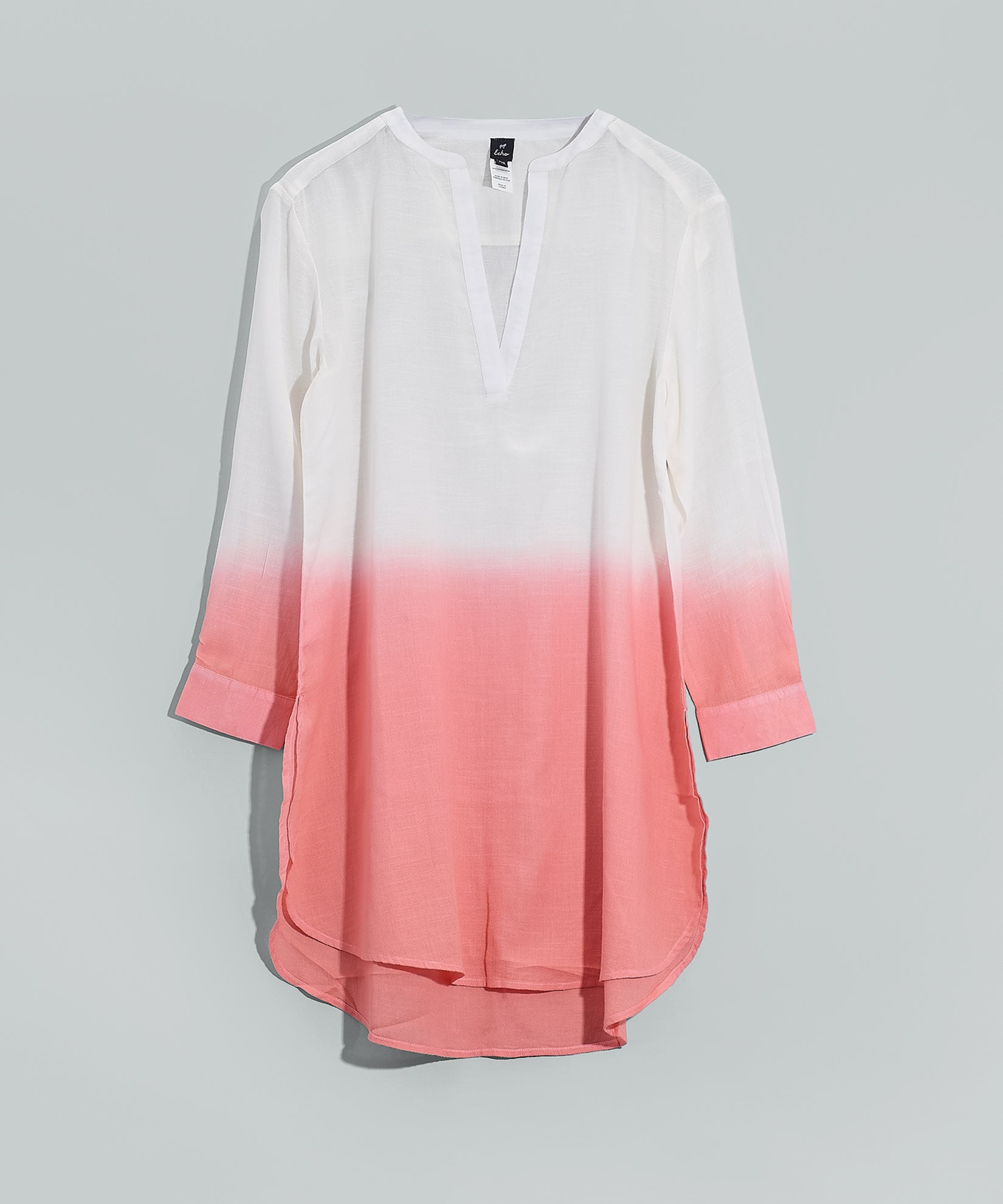 Sunset Coral - V Neck Long Sleeve Ombre Tunic