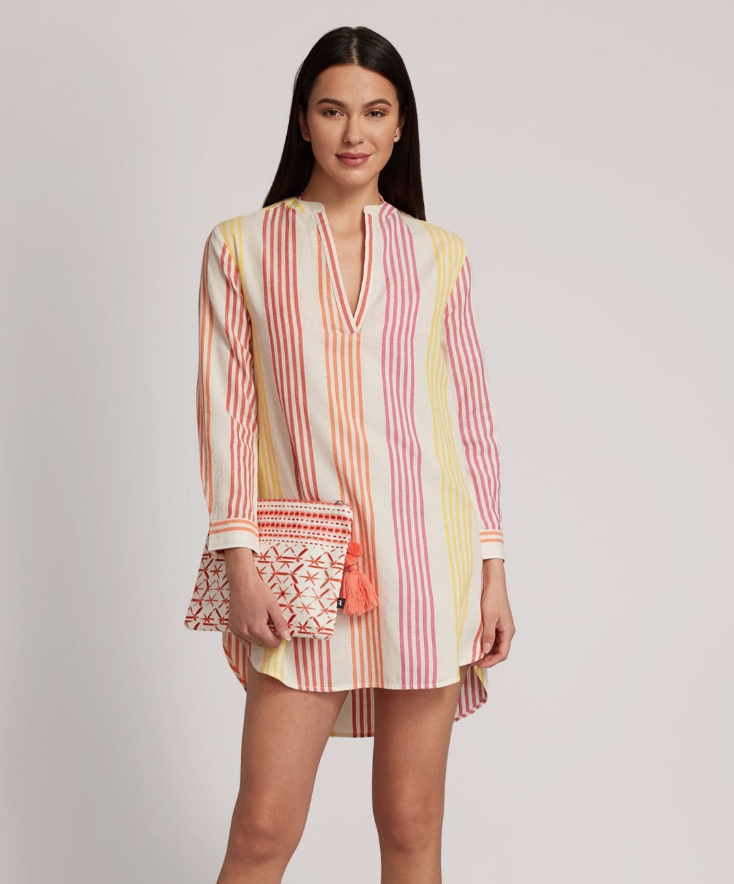Multi - V Nck Long Sleeve Stripe Tunic