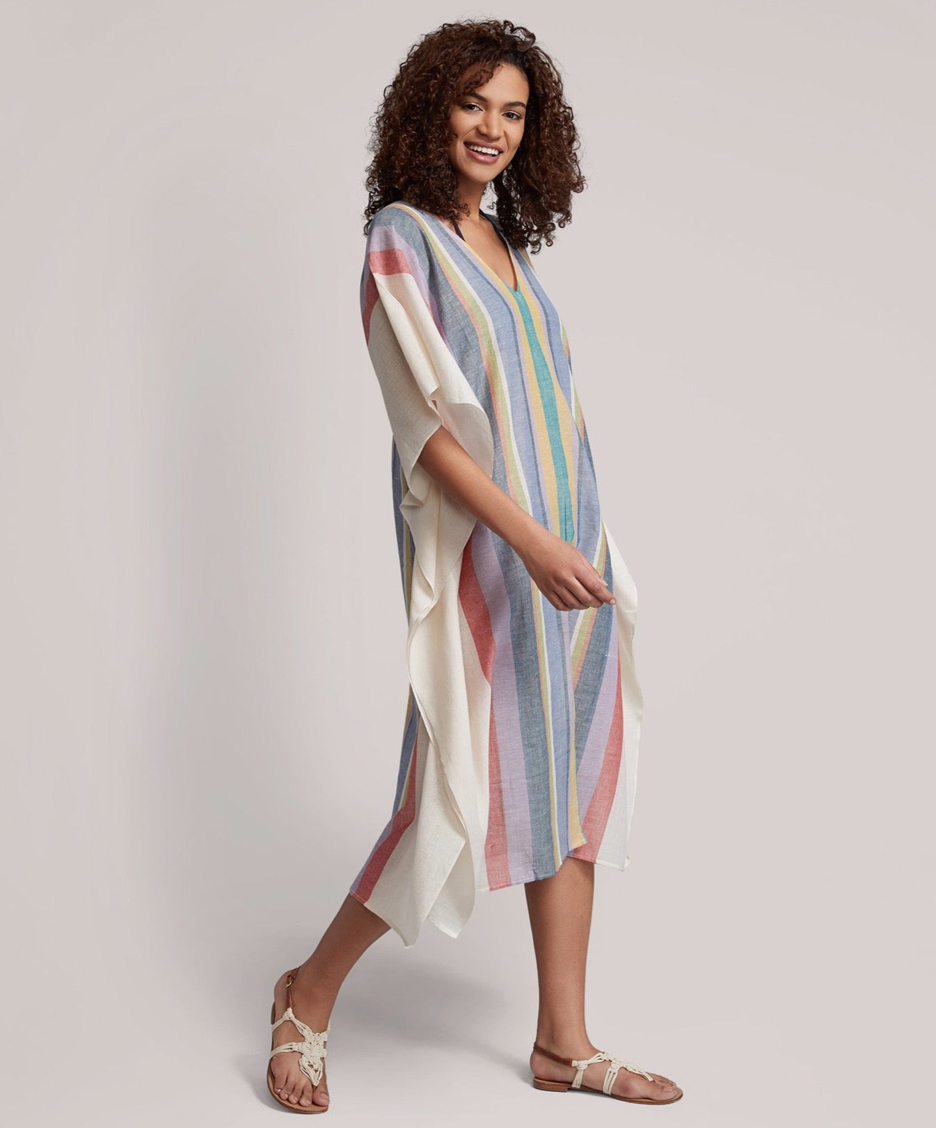 Multi - Beach Stripe Maxi Caftan