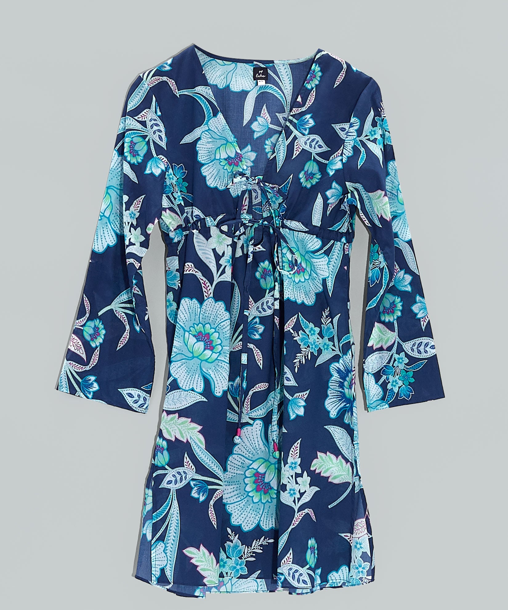 Navy - Tropical Floral Tunic Dress