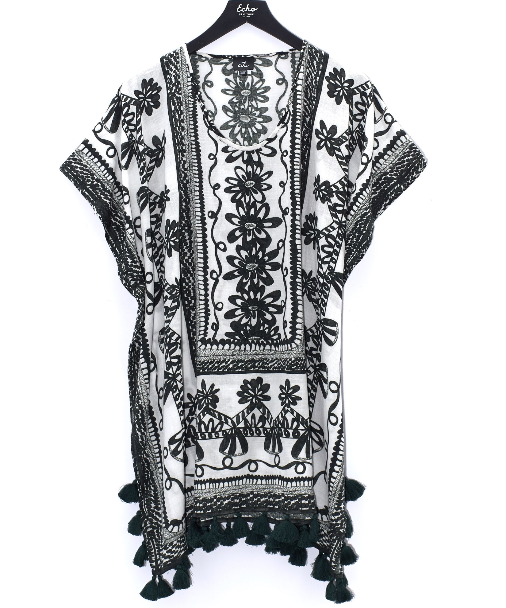 Black - Sketchy Scroll Caftan