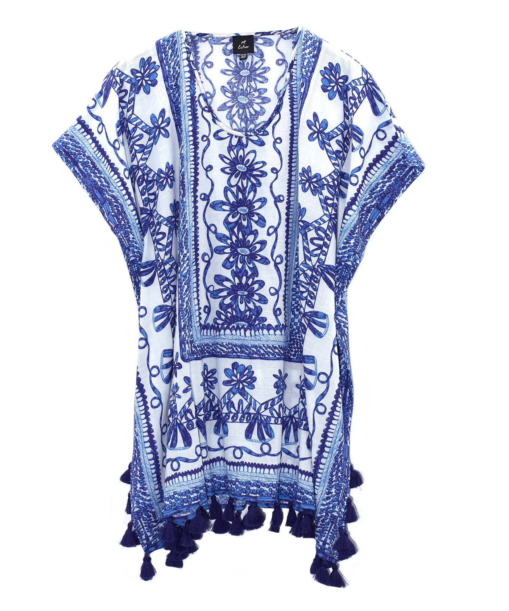 Vista Blue - Sketchy Scroll Caftan