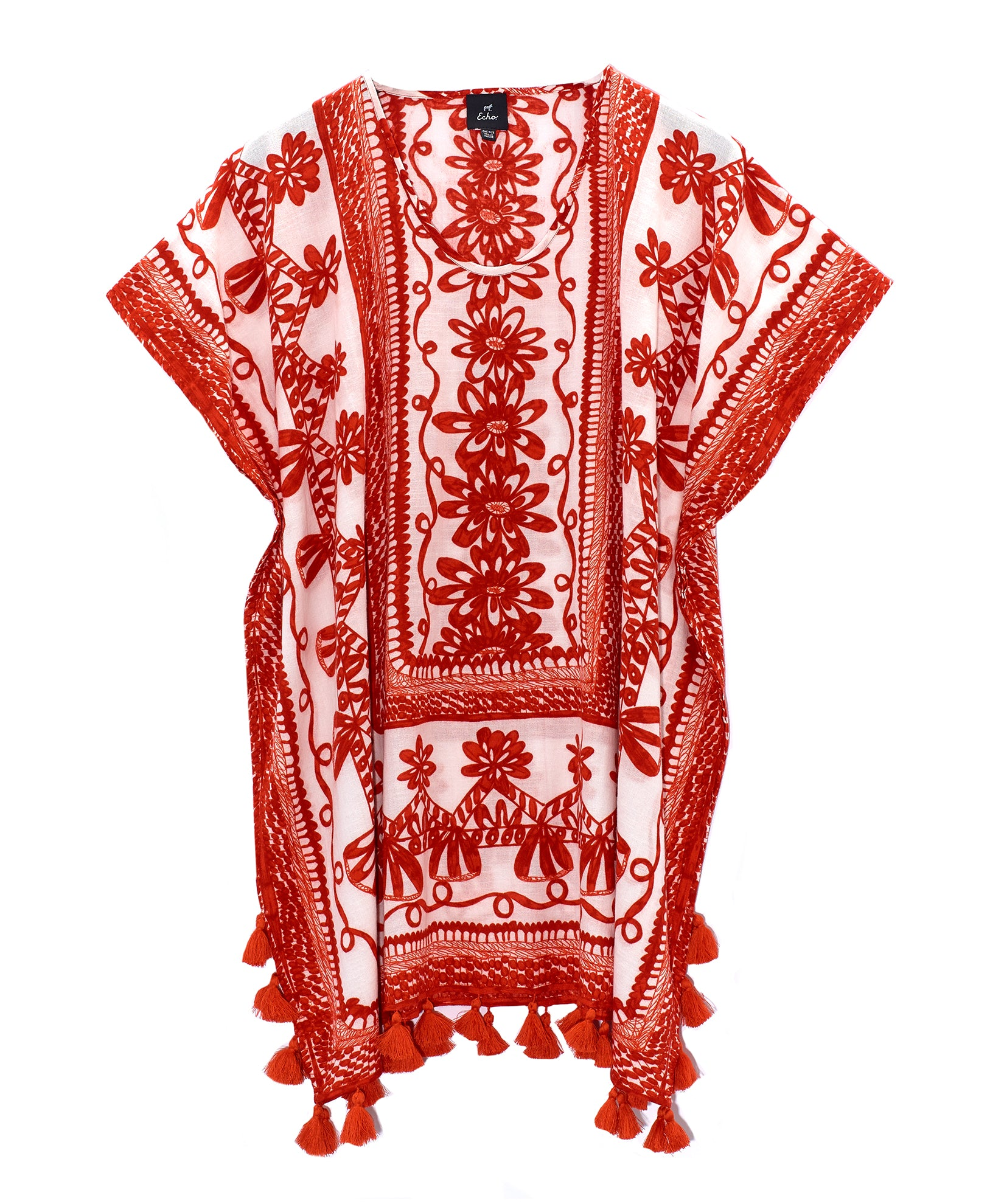 Cherry Red - Sketchy Scroll Caftan