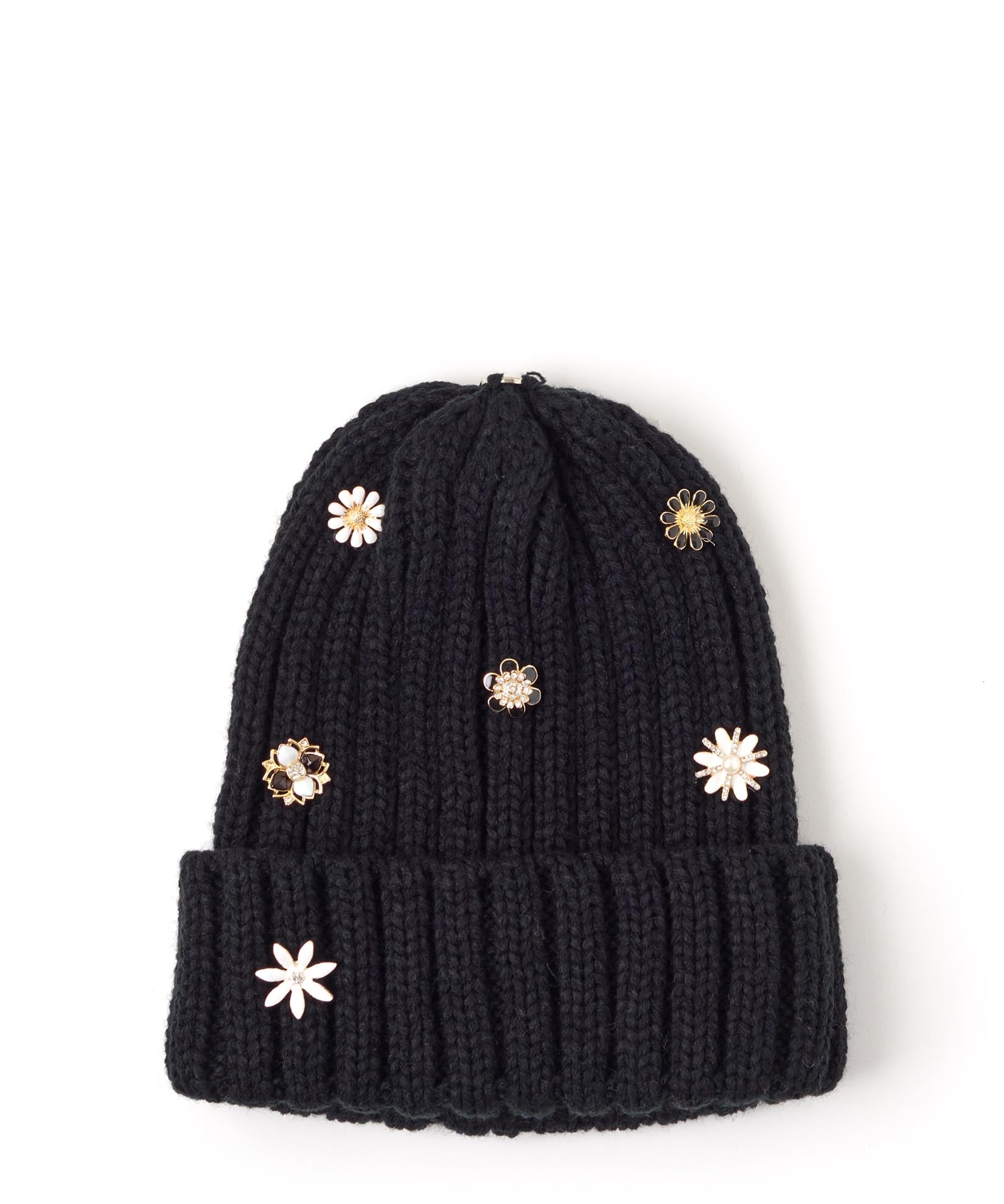 Black - Ribbed Knit Changeable Pom Beanie