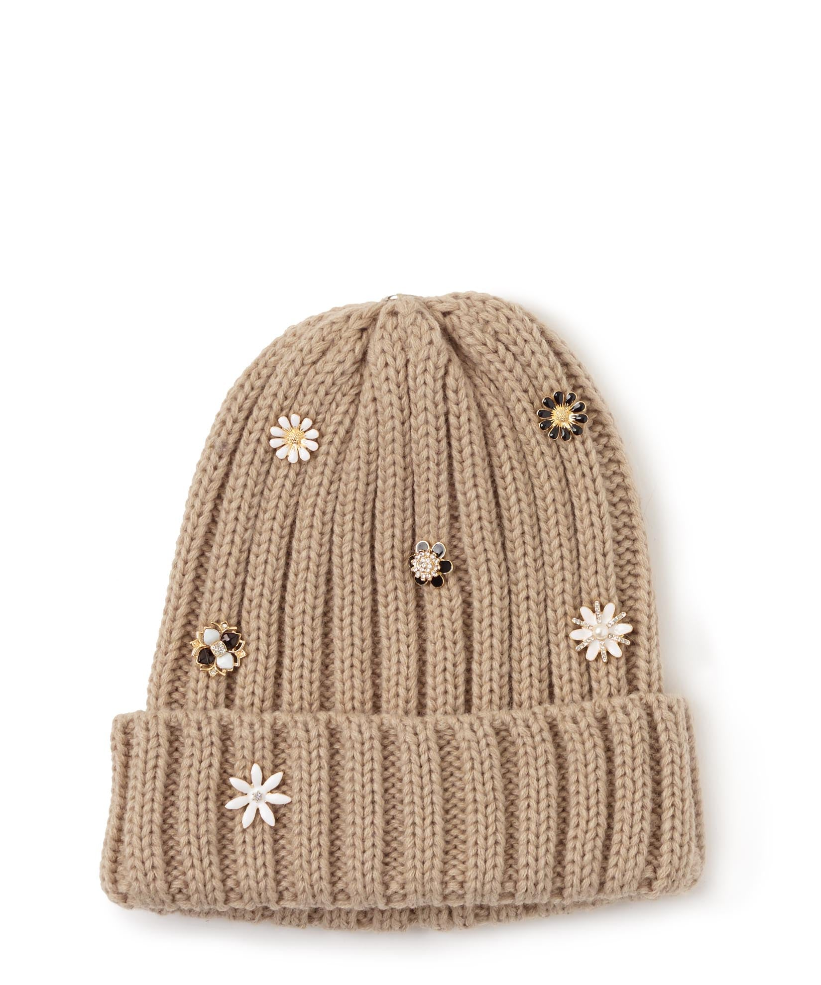 Oatmeal - Ribbed Knit Changeable Pom Beanie