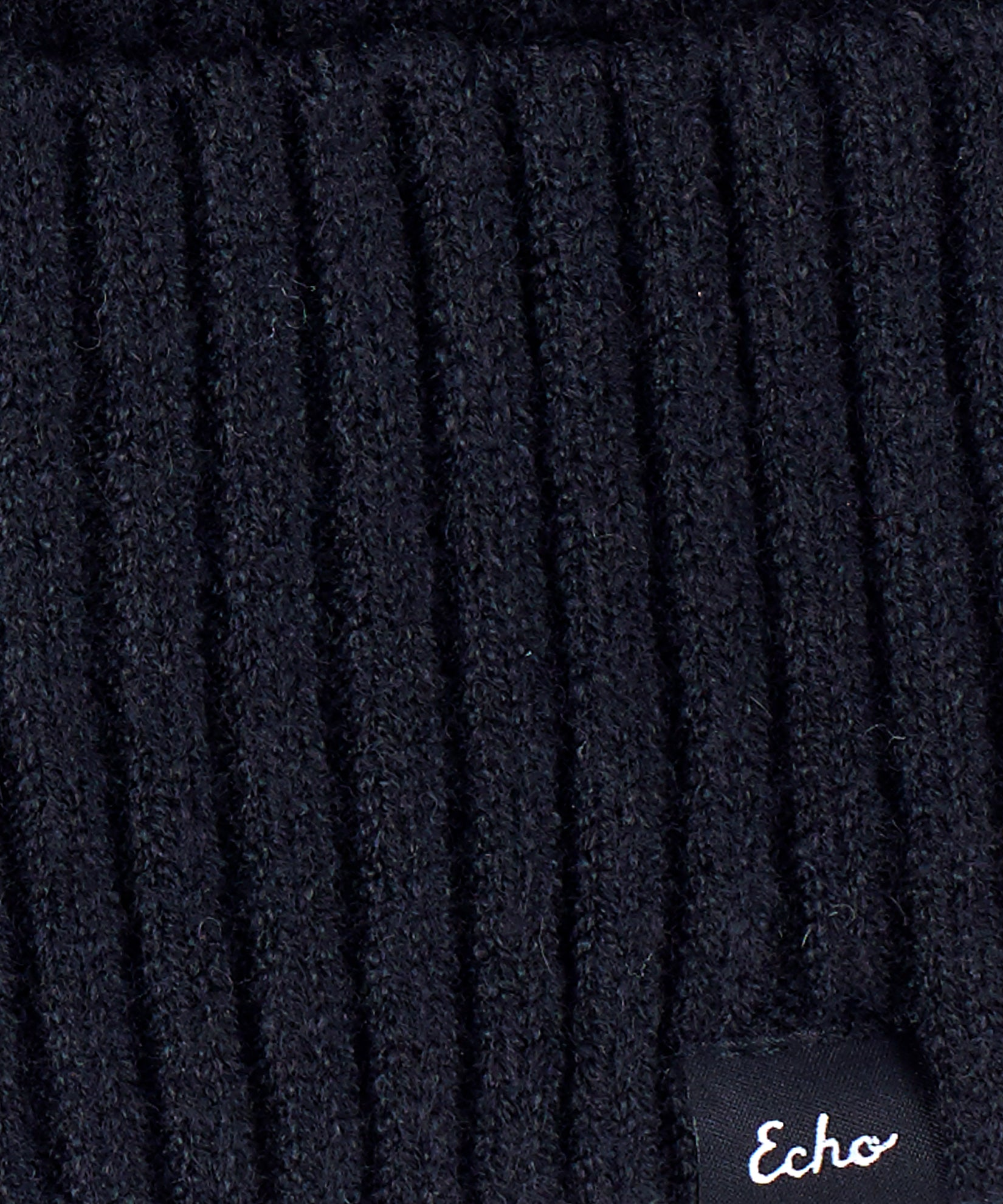 Echo Black - Active Stretch Ribbed Cuff Beanie