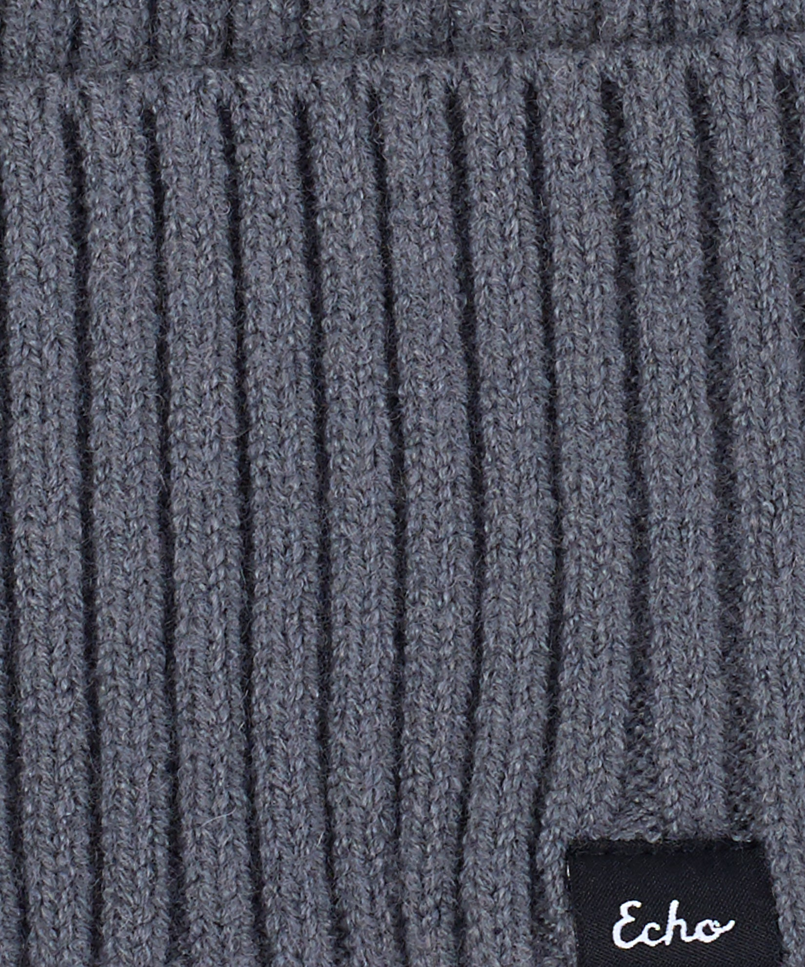 Echo Charcoal - Active Stretch Ribbed Cuff Beanie