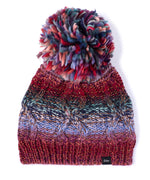 Multi/Black - Metallic Cable Stitch Beanie With Pom