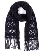 Echo Black - Brushed Crochet Floral Muffler