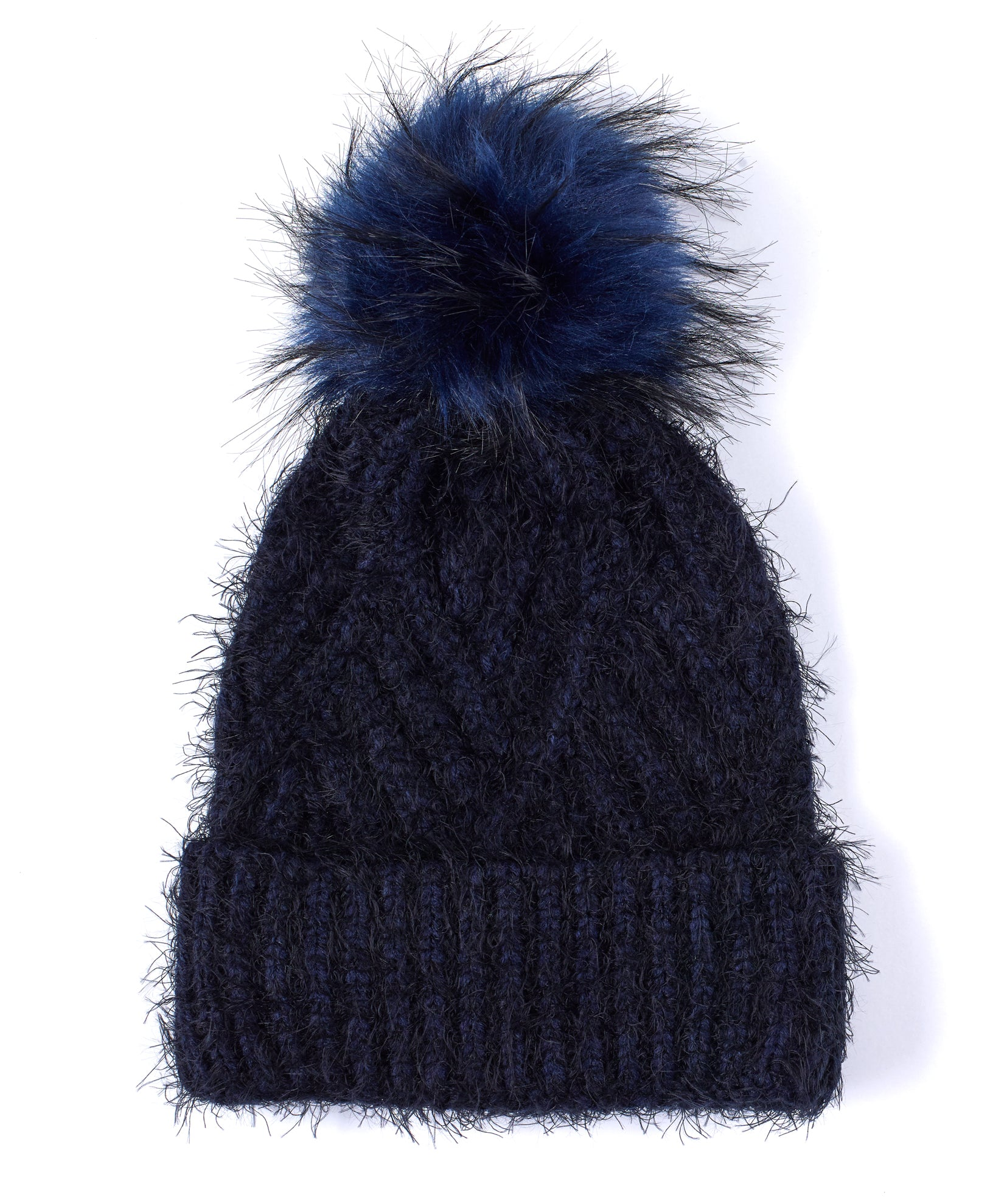 Echo Navy - Fuzzy Cable Hat With Pom