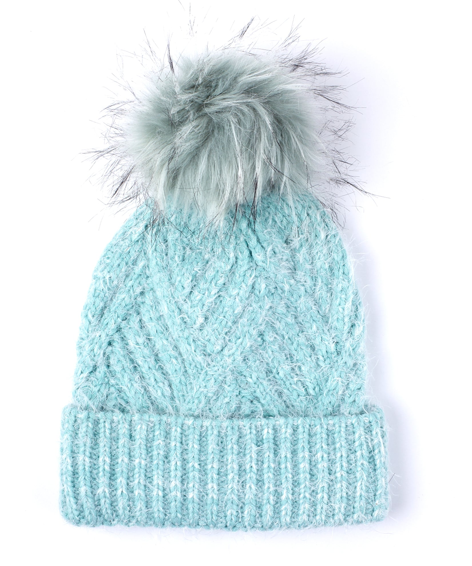 Himalayan Ice - Fuzzy Cable Hat With Pom