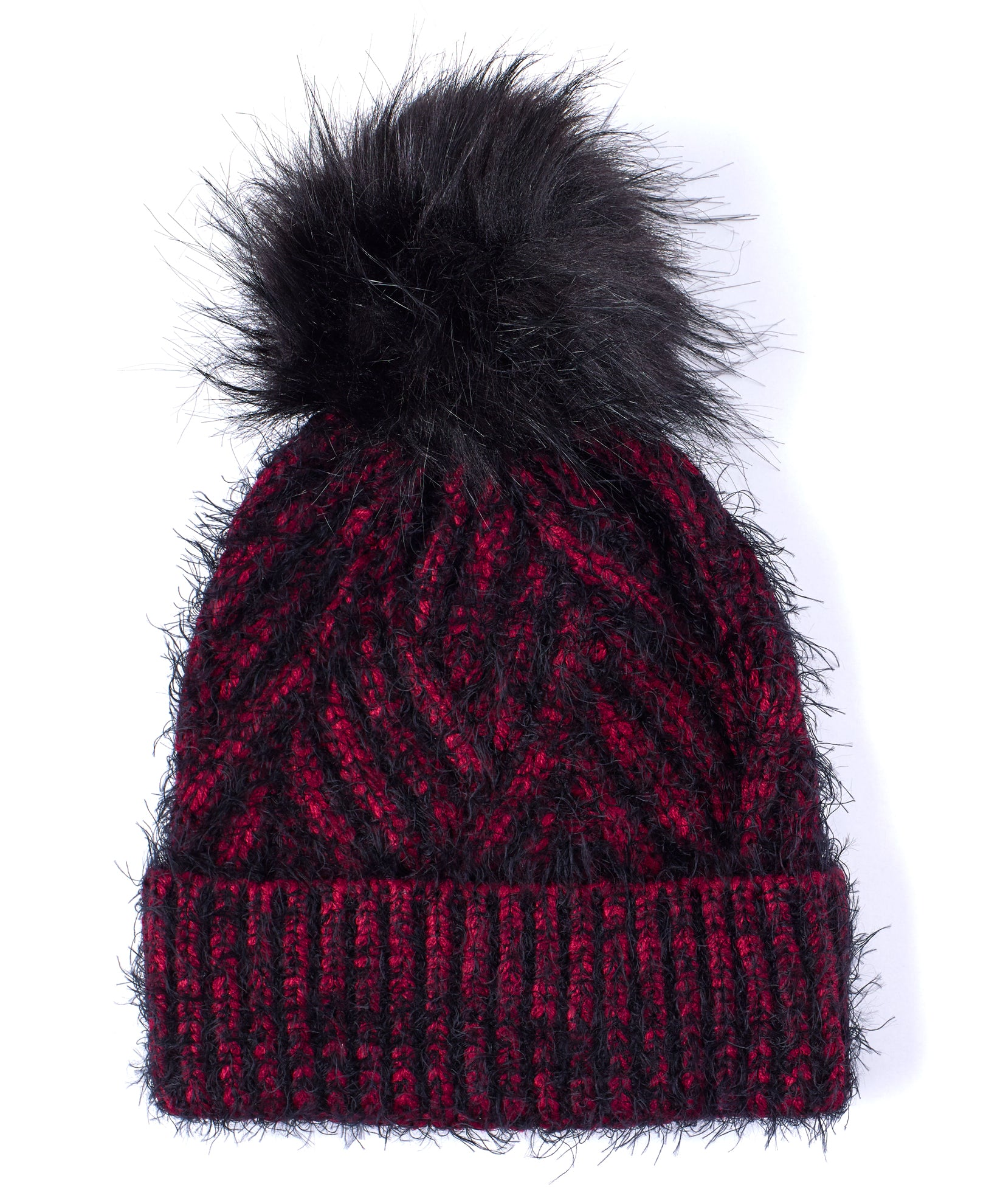 Pickled Beet - Fuzzy Cable Hat With Pom
