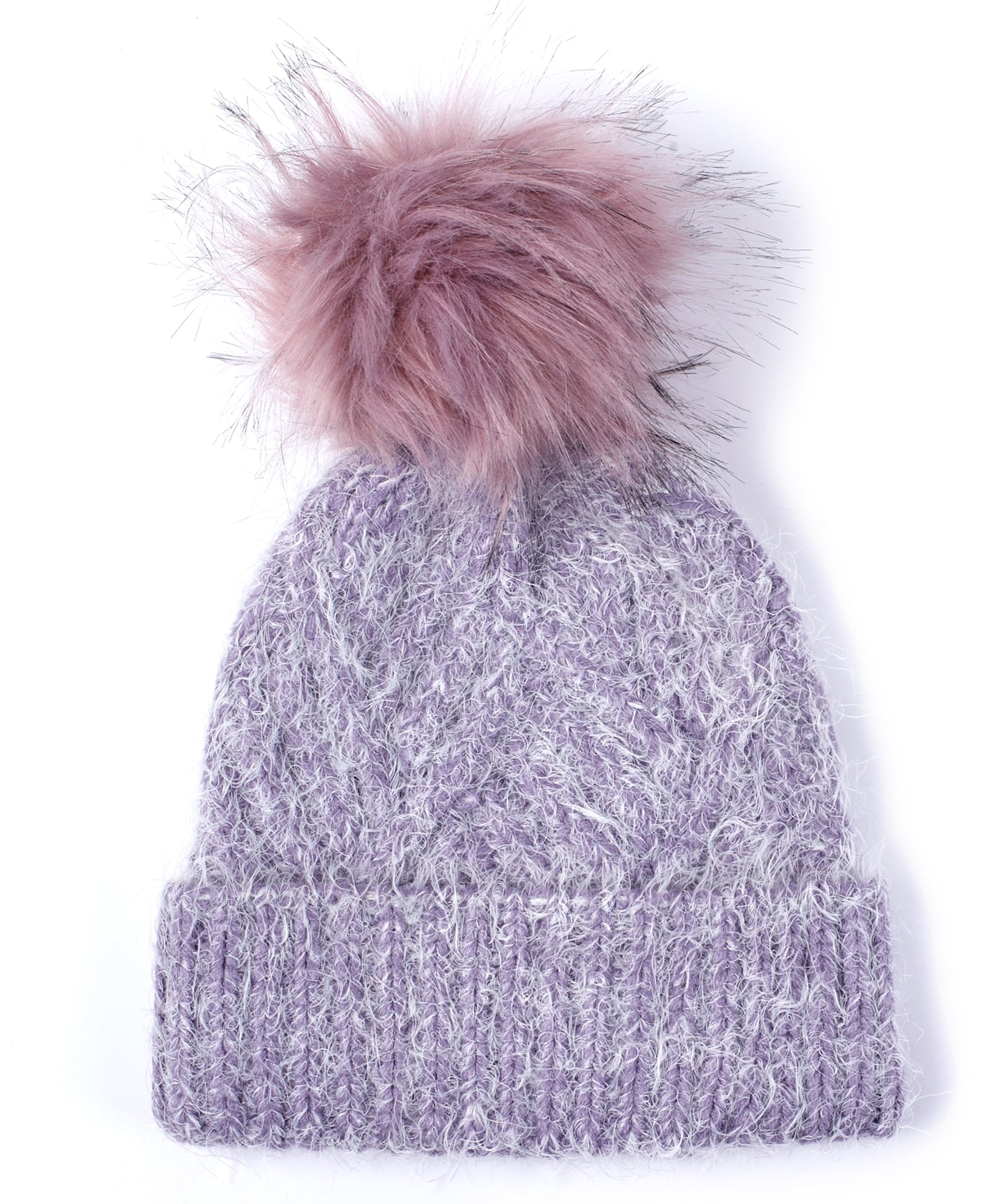 Smoked Lilac - Fuzzy Cable Hat With Pom