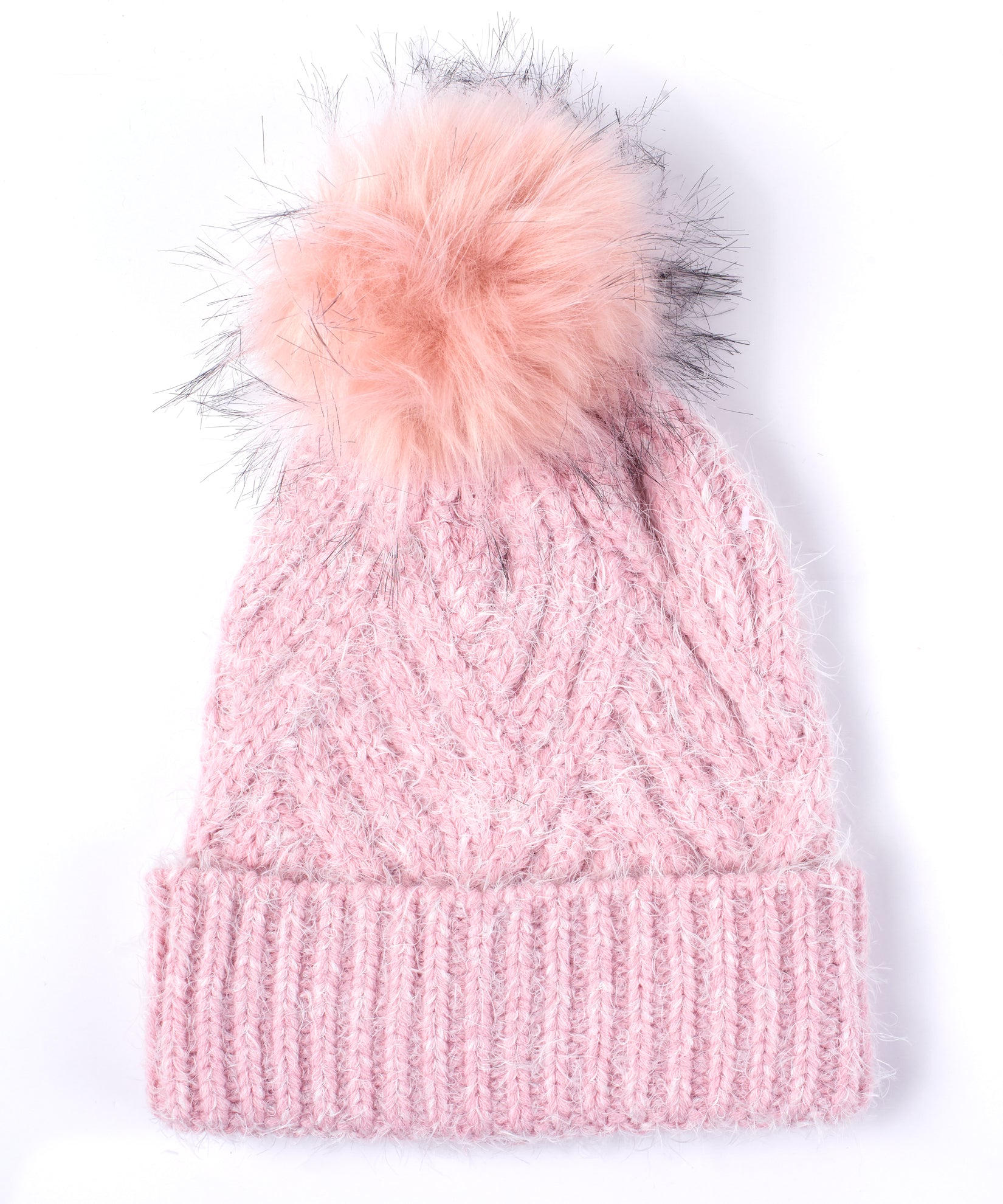 Jaipur Pink - Fuzzy Cable Hat With Pom