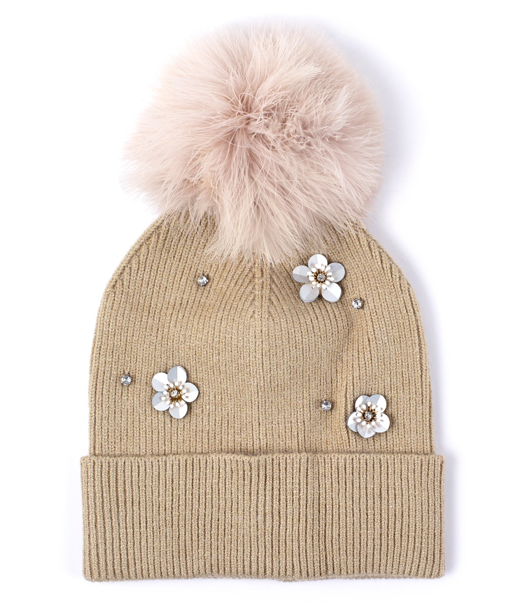 Echo Oatmeal - Embellished Flower Hat With Feather Pom