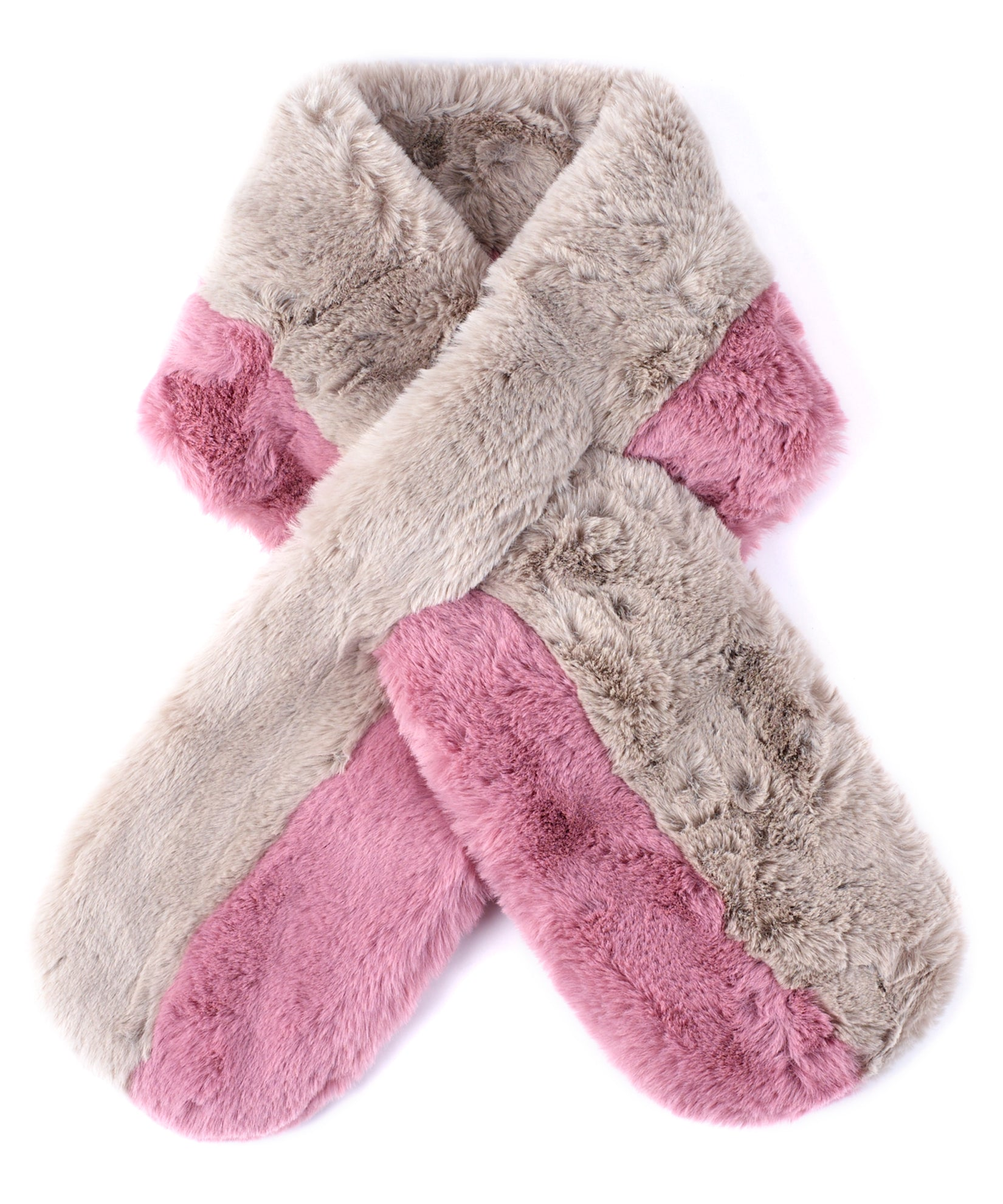 Echo Silver - Pull Through Faux Fur Colorblock Stole