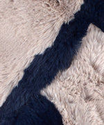 Deep Sapphire - Pull Through Faux Fur Colorblock Stole