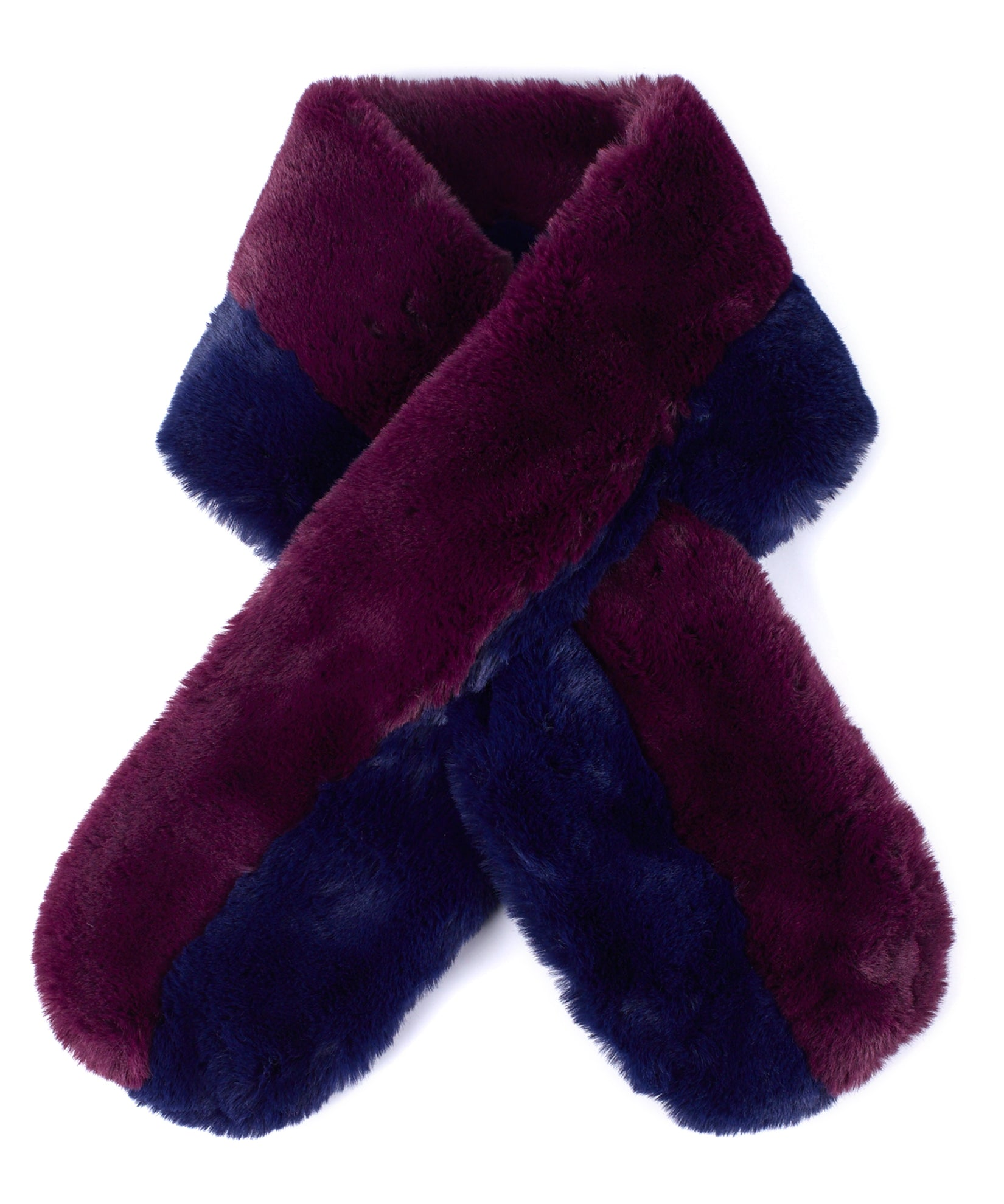 Pickled Beet - Pull Through Faux Fur Colorblock Stole