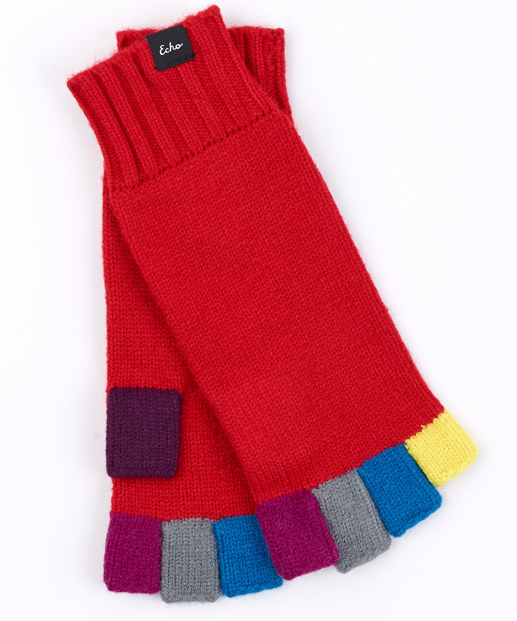 Ruby Red - Color Block Fingerless