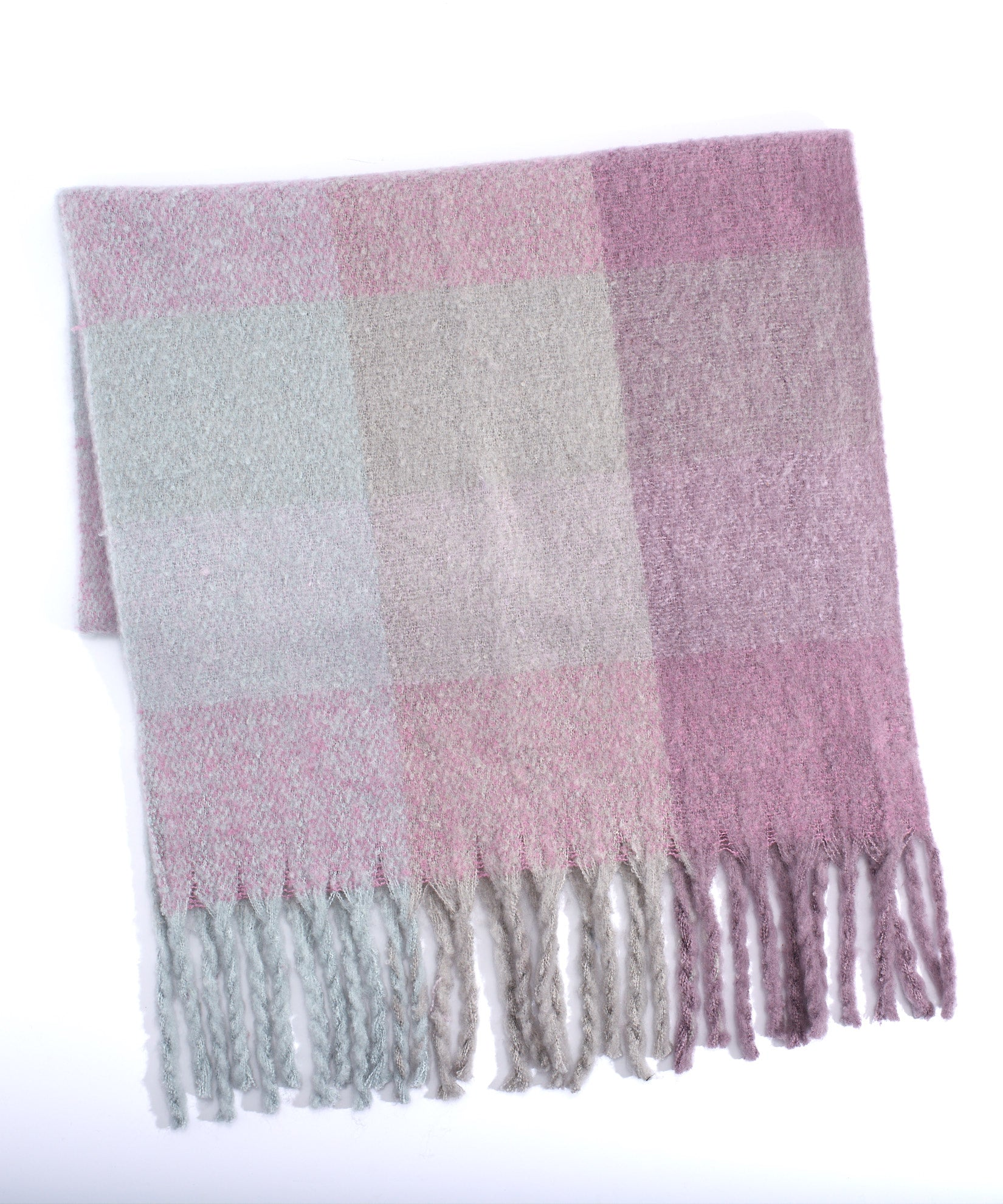 Smoked Lilac - Lofty Plaid Muffler With Fringe