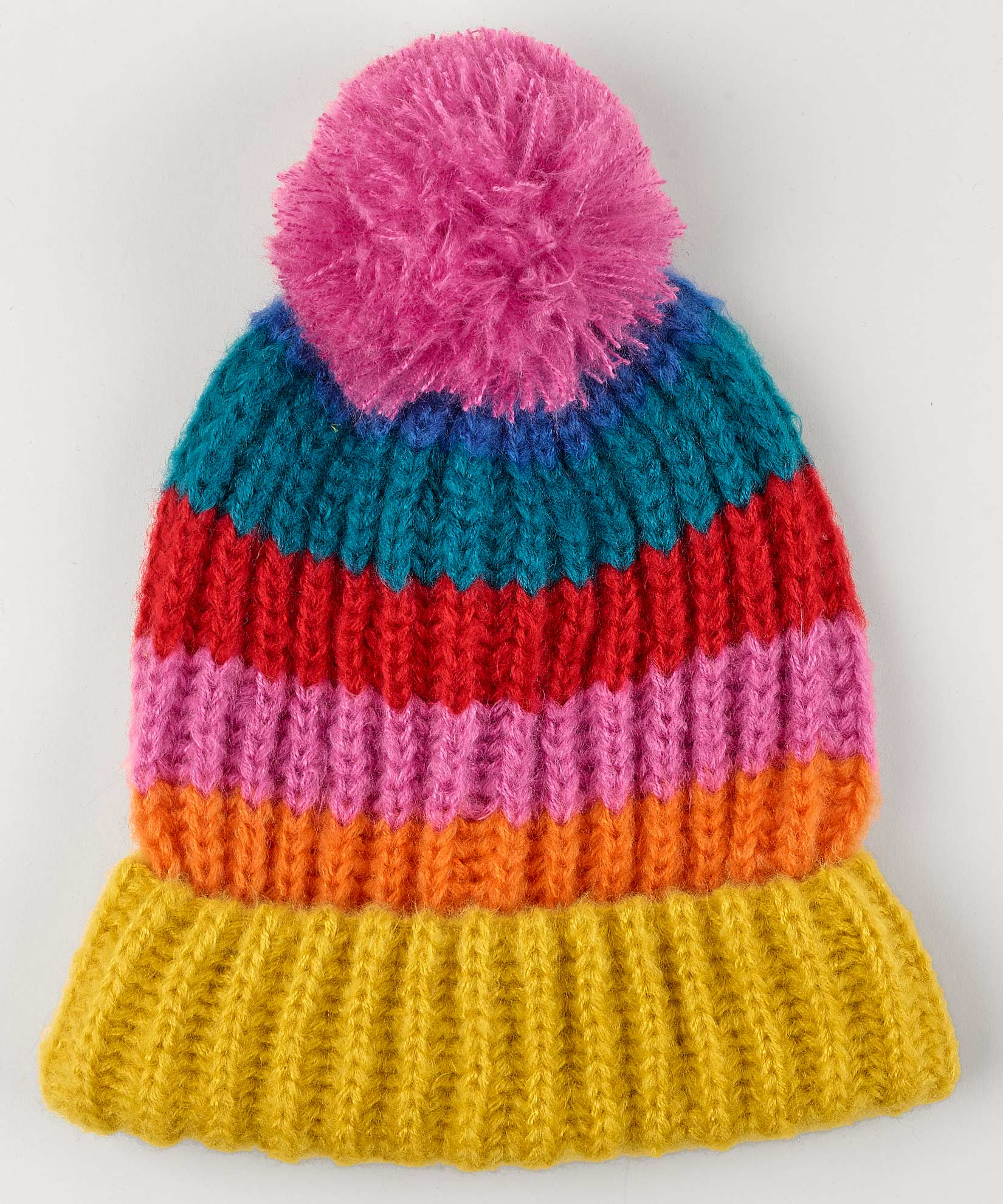 Peony - Rainbow Stripe Hat With Pom