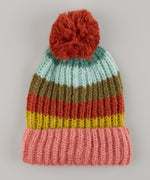Cinnamon - Rainbow Stripe Hat With Pom