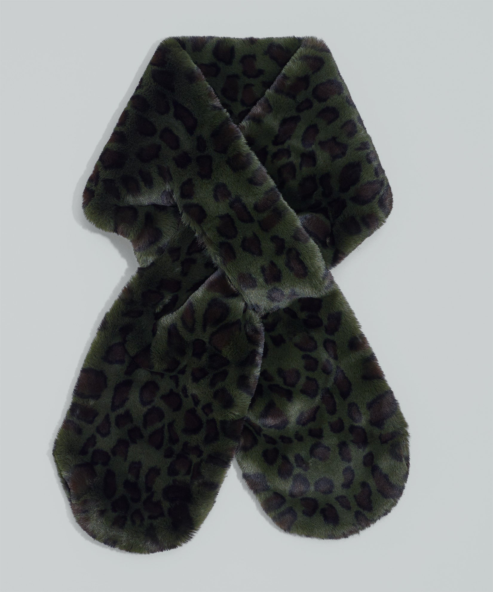 Forest Green - Animal Print Faux Fur Pull-Through
