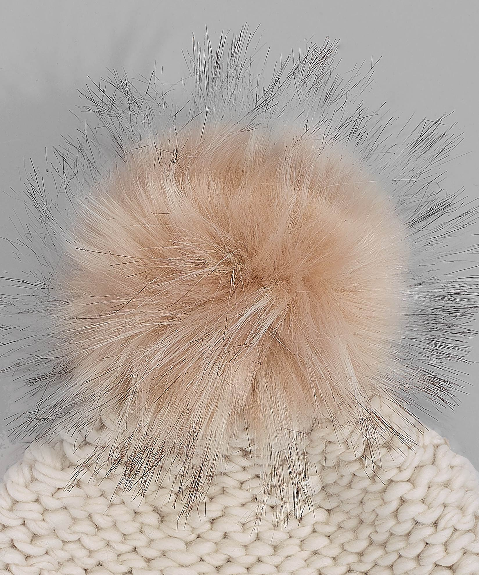 Cream - Chunky Knit Beanie With Faux Fur Pom