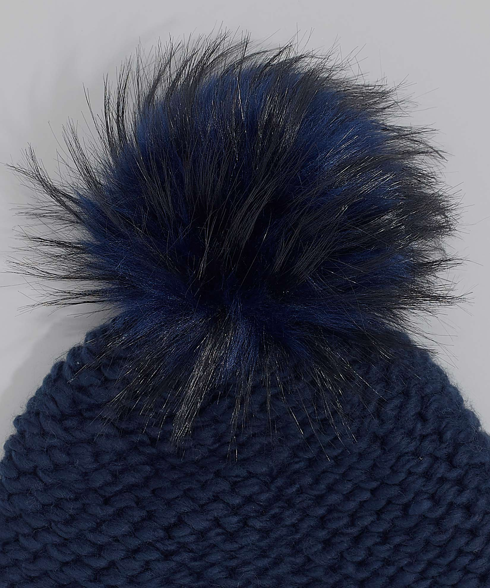 Echo Navy - Chunky Knit Beanie With Faux Fur Pom