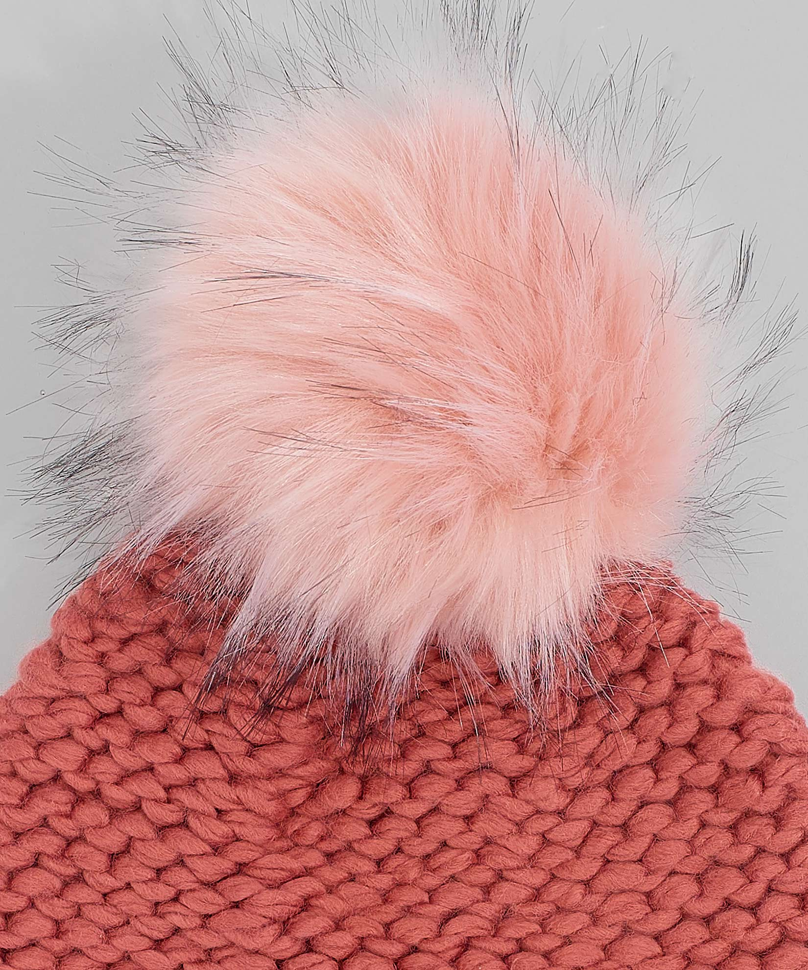 Rose Gold - Chunky Knit Beanie With Faux Fur Pom
