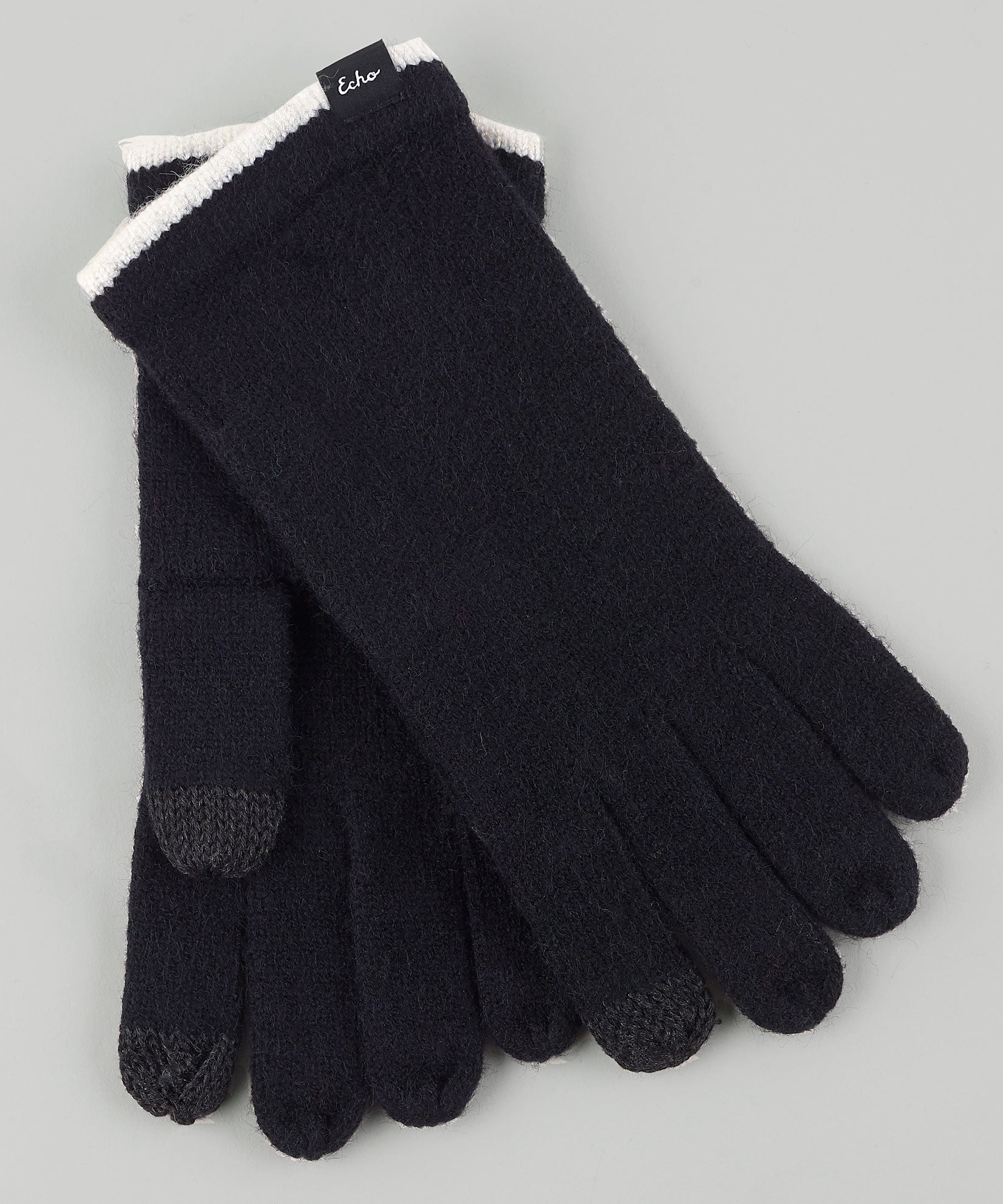 Black/Ivory - Echo Touch Glove With Tipped Edge