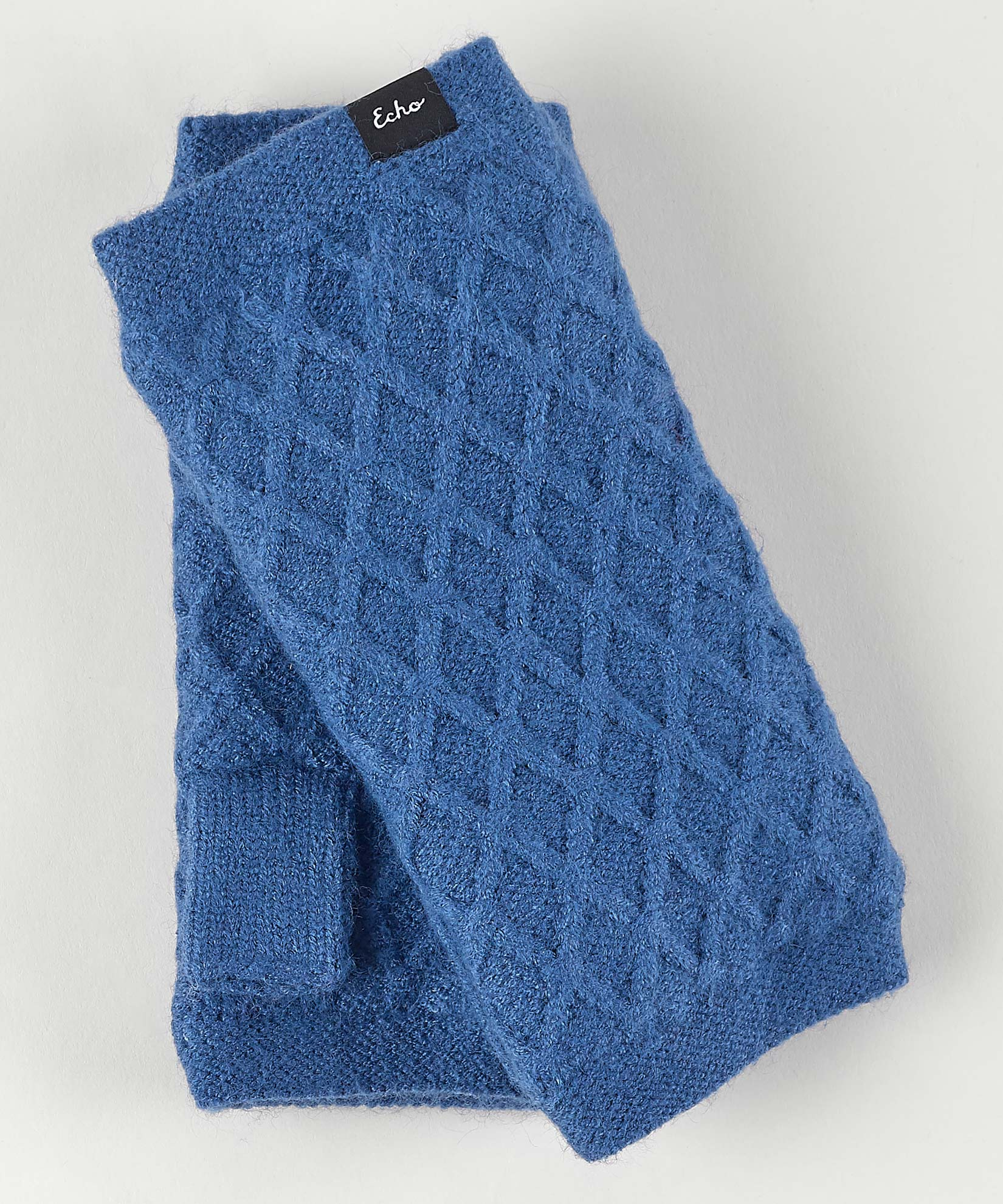 Denim Blue - Diamond Fingerless Glove