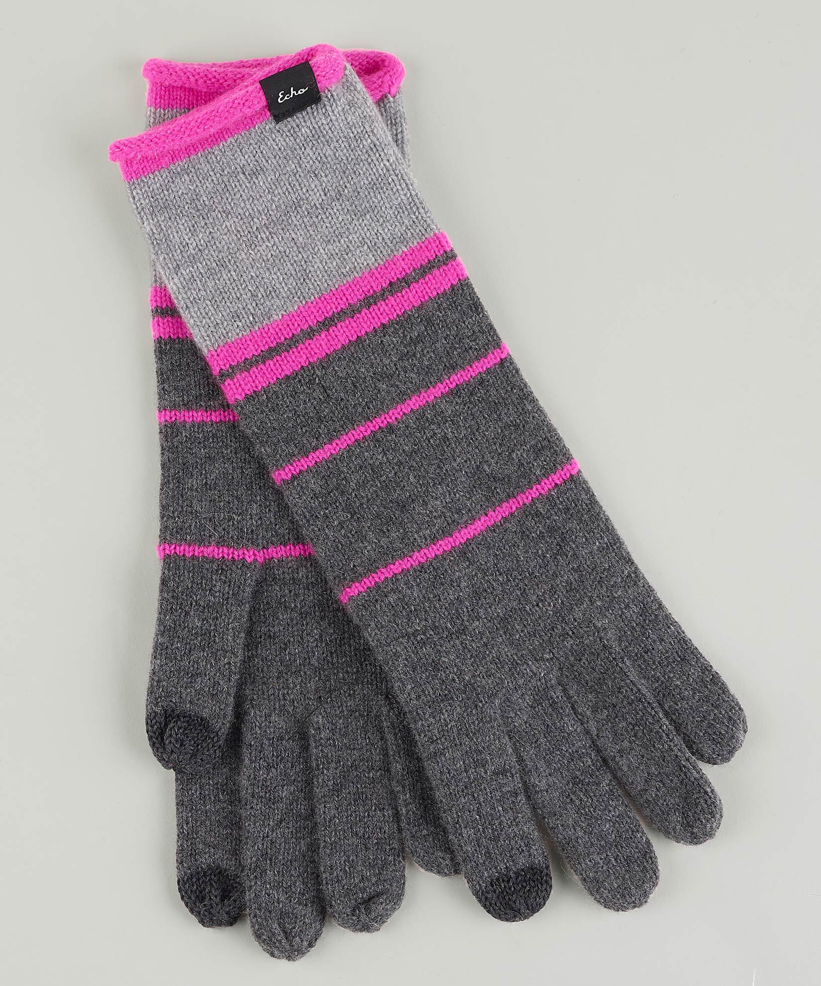 Echo Charcoal - Colorblock Cashmere Blend Luxe Glove