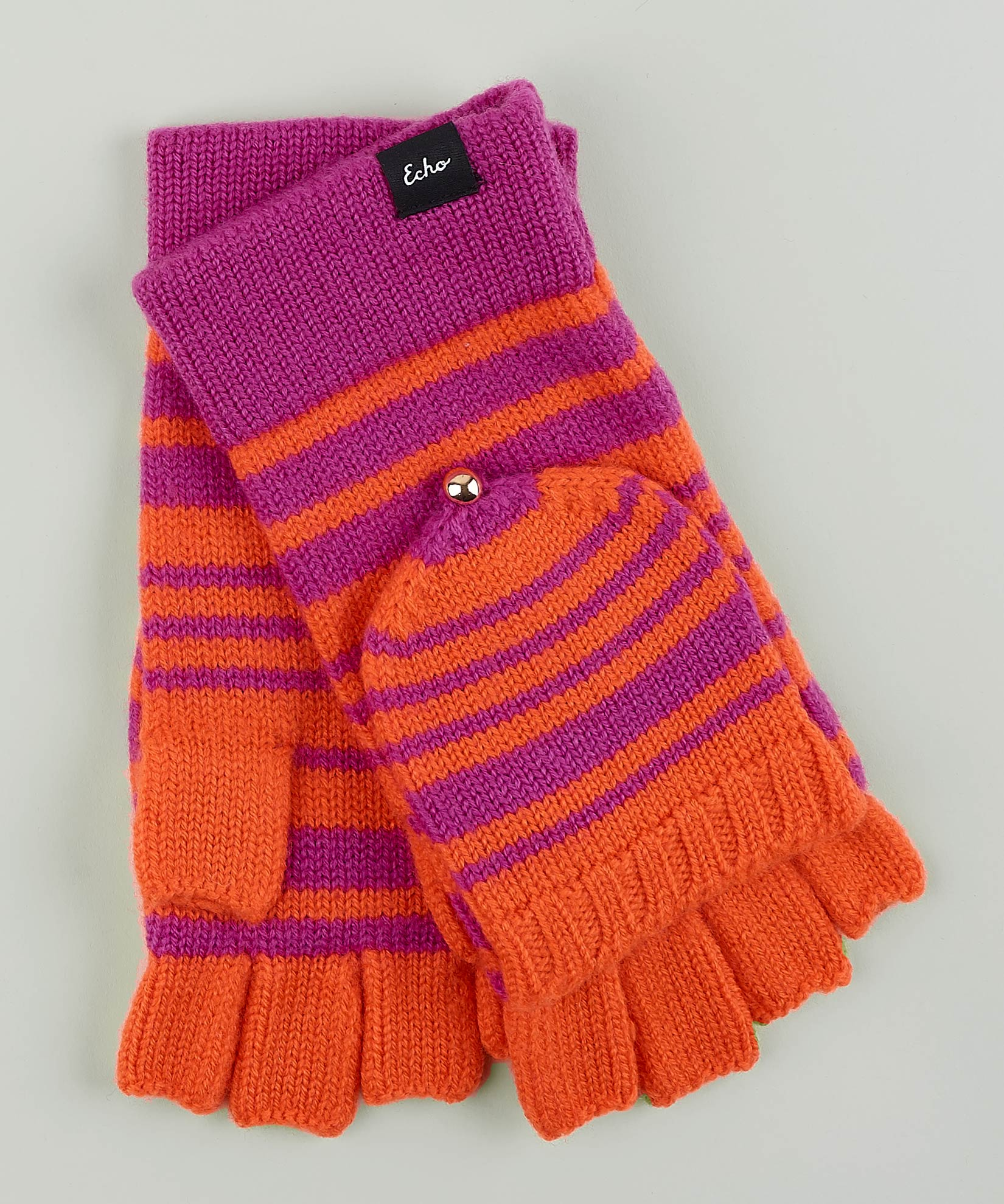 Winter Viola - Striped Pop Top Fingerless Glove